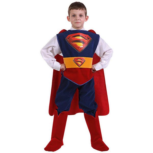 Карнавальный костюм Супермен (Звездный маскарад), БатикКарнавальные костюмы для мальчиков<br>Карнавальный костюм Супермен (Звездный маскарад), Батик<br><br>Характеристики:<br><br>• Материал: бархат (100% полиэстер). <br>• Цвет: синий, красный.<br><br>В комплекте:<br><br>• брюки;<br>• куртка;<br>• плащ;<br>• сапоги;<br>• пояс.<br><br>Образ Супермена хотел бы примерить на себя каждый мальчишка. Этот карнавальный костюм предоставит такую возможность вашему мальчику и станет для него прекрасным подарком. Брюки прямого покроя, пояс собран на резинке. Плащ крепится на липучках для удобного снимания и надевания. В таком карнавальном костюме, «Супермен», ваш мальчик получит максимальное удовольствие от праздника и подарит радость окружающим!<br><br>Карнавальный костюм Супермен (Звездный маскарад), Батик можно купить в нашем интернет – магазине.<br><br>Ширина мм: 500<br>Глубина мм: 50<br>Высота мм: 700<br>Вес г: 600<br>Возраст от месяцев: 84<br>Возраст до месяцев: 96<br>Пол: Мужской<br>Возраст: Детский<br>Размер: 32,28<br>SKU: 5092517