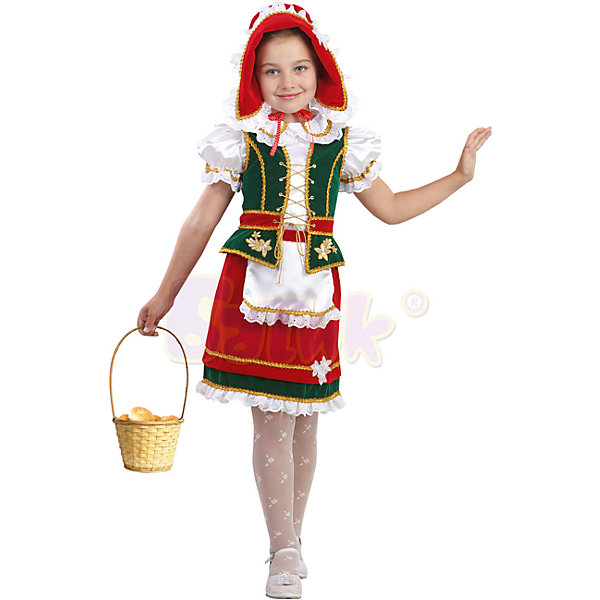 Карнавальный костюм Красная шапочка Звездный маскарад, БатикКарнавальные костюмы для девочек<br>Карнавальный костюм Красная шапочка Звездный маскарад, Батик<br><br>Характеристики:<br><br>• Материал: бархат .<br>• Цвет: зеленый, красный.<br><br>В комплекте:<br><br>• юбка;<br>• белая блузка;<br>• жилет;<br>• шапочка;<br><br>Очаровательный карнавальный костюм «Красной шапочки» очень понравится вашей девочке! Костюм  сшит из ткани ярких , сочные цветов- красного и зеленого цвета. Белоснежная блузка с кокетливым кроем рукава – фонариком. Жилет на шнуровке, отделан золотом. Красная юбочка с белым фартучком. И, наконец, красная шапочка, отделана белой рюшей. В таком карнавальном костюме, «Красная шапочка», ваша девочка получит максимальное удовольствие от праздника и подарит радость окружающим!<br><br>Карнавальный костюм Красная шапочка (Звездный маскарад), Батик можно купить в нашем интернет – магазине.<br><br>Ширина мм: 500<br>Глубина мм: 50<br>Высота мм: 700<br>Вес г: 600<br>Цвет: белый<br>Возраст от месяцев: 48<br>Возраст до месяцев: 60<br>Пол: Женский<br>Возраст: Детский<br>Размер: 28,26,30<br>SKU: 5092520