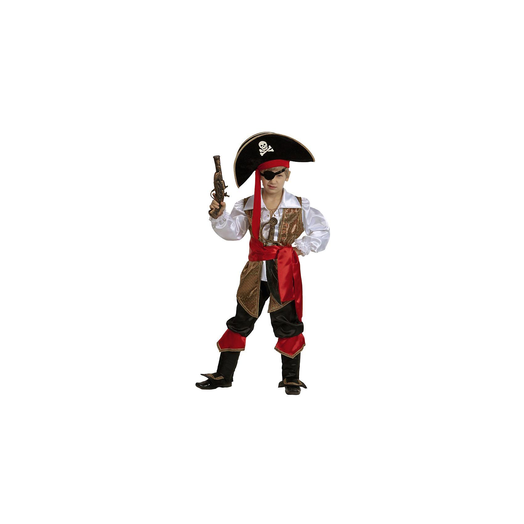 Карнавальный костюм Капитан Флинт, БатикМаски и карнавальные костюмы<br>Карнавальный костюм Капитан Флинт, Батик<br><br>Характеристики:<br><br>• Материал: бархат .<br>• Цвет: черный, красный.<br><br>В комплекте:<br><br>• жилет;<br>• белая рубаха;<br>• бриджи с сапогами;<br>• шляпа;<br>• повязка на глаз;<br>• красный пояс;<br>• сабля и мушкет.<br><br>Ваш храбрый и отважный пират будет неотразим в карнавальном костюме Капитан Флинт. Черные бриджи с имитацией ботфорт, шляпа декорирована пиратской символикой, жилет выполнен из ткани под золото. Завершают образ повязка на глаз и красный кушак. В таком карнавальном костюме, «Капитан Флинт»,  ваш мальчик получит максимальное удовольствие от праздника и подарит радость окружающим!<br><br>Карнавальный костюм Капитан Флинт, Батик можно купить в нашем интернет – магазине.<br><br>Ширина мм: 500<br>Глубина мм: 50<br>Высота мм: 700<br>Вес г: 600<br>Цвет: разноцветный<br>Возраст от месяцев: 60<br>Возраст до месяцев: 72<br>Пол: Мужской<br>Возраст: Детский<br>Размер: 30,32,28<br>SKU: 5092524