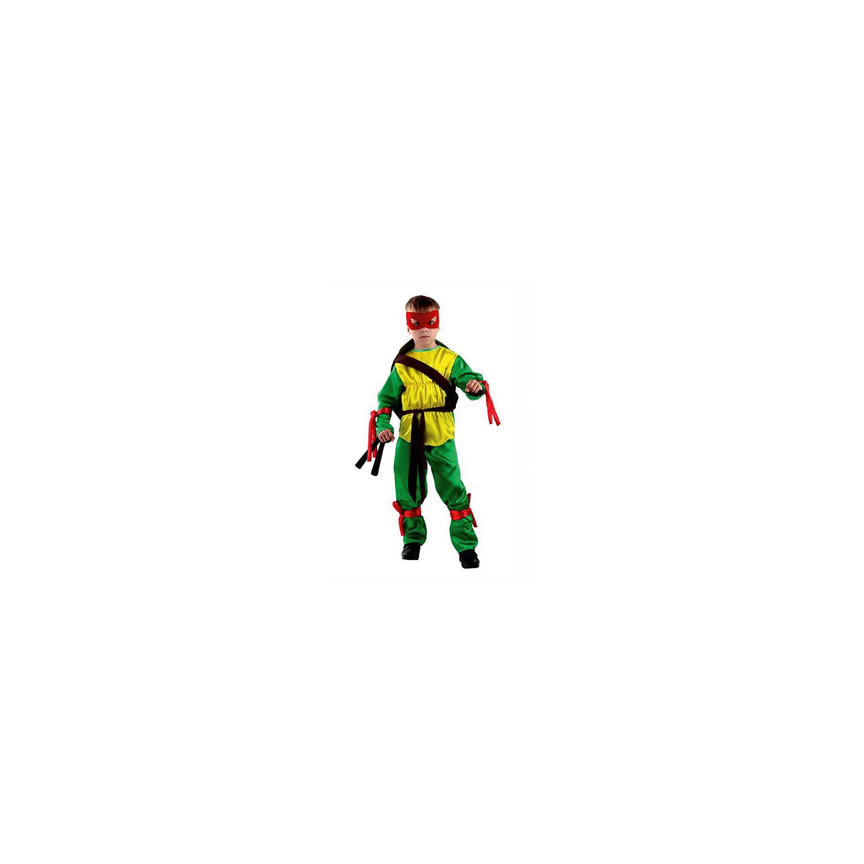 Карнавальный костюм Черепашка Ниндзя, БатикКарнавальные костюмы и аксессуары<br>Карнавальный костюм Черепашка Ниндзя, Батик<br><br>Характеристики:<br><br>• Материал: бархат .<br>• Цвет: зеленый, желтый.<br><br>В комплекте:<br><br>• панцирь;<br>• куртка;<br>• штаны;<br>• маска (4шт. разного цвета).<br><br>Ваш мальчик поклонник историй о черепашках-ниндзя? Тогда этот костюм для него! Костюм сшит из мягкого, приятного на ощупь бархата. В комплекте: куртка, брюки, четыре маски и панцирь. Панцирь надевается на одну широкую лямку. К рубашке и брюкам пришиты налокотники и наколенники с завязками. В таком карнавальном костюме, «Черепашка Ниндзя», ваш мальчик получит максимальное удовольствие от праздника и подарит радость окружающим!<br><br>Карнавальный костюм Черепашка Ниндзя, Батик можно купить в нашем интернет – магазине.<br><br>Ширина мм: 500<br>Глубина мм: 50<br>Высота мм: 700<br>Вес г: 600<br>Цвет: белый<br>Возраст от месяцев: 84<br>Возраст до месяцев: 96<br>Пол: Мужской<br>Возраст: Детский<br>Размер: 32,30<br>SKU: 5092528