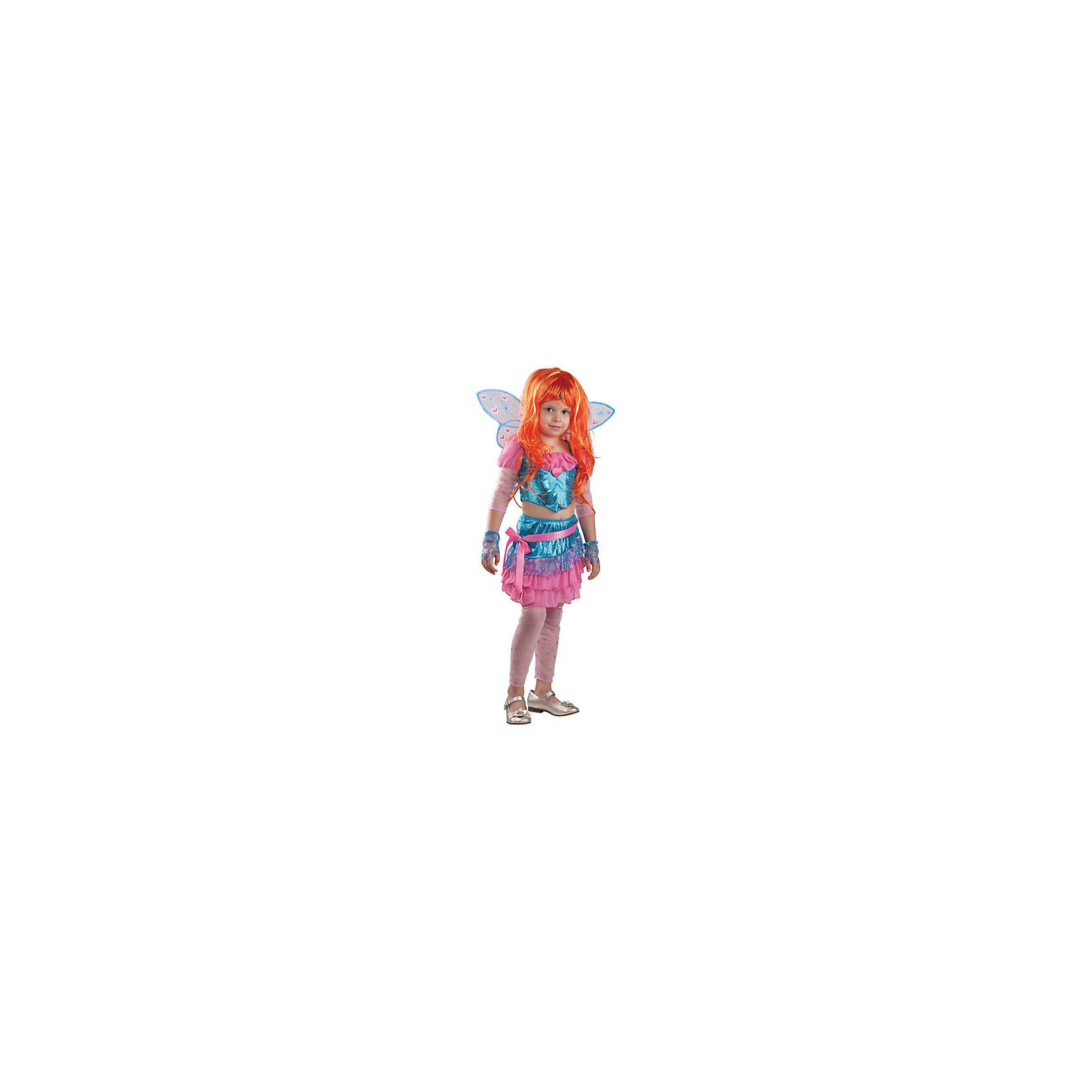 Карнавальный костюм Блум, БатикКарнавальные костюмы и аксессуары<br>Карнавальный костюм Блум, Батик<br><br>Характеристики:<br><br>• Материал: атлас (100% полиэстер).<br>• Цвет: разноцветный.<br><br>В комплекте:<br><br>• юбка;<br>• топ;<br>• крылья;<br>• парик;<br>• митенки;<br>• гольфы;<br>• брошь «сердечко».<br><br>Ваша девочка поклонница историй о феях-волшебницах Винкс? Тогда этот костюм для неё!  Костюм Блум - одной из главных героинь сказочной истории - воссоздаёт образ персонажа в мельчайших деталях. Рыжий парик, легкие крылышки – все это поможет вашей девочке перевоплотиться в фею Блум. В таком карнавальном костюме, «Блум», ваша девочка получит максимальное удовольствие от праздника и подарит радость окружающим!<br><br>Карнавальный костюм Блум, Батик можно купить в нашем интернет – магазине.<br><br>Ширина мм: 500<br>Глубина мм: 50<br>Высота мм: 700<br>Вес г: 600<br>Цвет: белый<br>Возраст от месяцев: 60<br>Возраст до месяцев: 72<br>Пол: Женский<br>Возраст: Детский<br>Размер: 30,32<br>SKU: 5092531