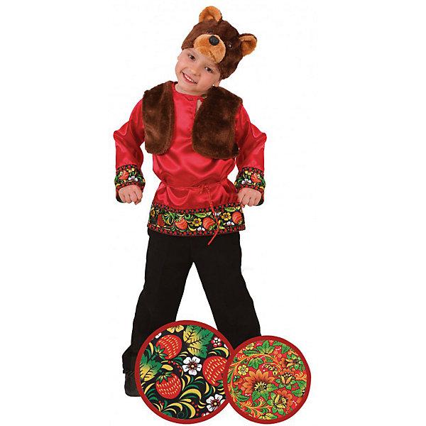 Карнавальный костюм Мишка Захарка (сатин), БатикКарнавальные костюмы для мальчиков<br>Карнавальный костюм Мишка Захарка (сатин), Батик<br><br>Характеристики:<br><br>• Материал: 100% полиэстер.<br>• Цвет: разноцветный, коричневый.<br><br>В комплекте:<br><br>• рубашка;<br>• жилет;<br>• шапка – маска.<br><br><br>Карнавальный костюм для мальчиков «Мишка Захарка» выполнен в  русском стиле из текстильной ткани и качественного искусственного меха. В комплект карнавального костюма входит маска в виде мордочки медведя из меха коричневого цвета,  красная рубашка с эксклюзивными принтами под хохлому. Воротник рубашки застегивается на пуговицу, также рубашка подпоясывается красной нитью. Завершает образ Мишки Захарки меховая жилетка коричневого цвета. В таком карнавальном костюме, «Мишка Захарка»,  ваш мальчик получит максимальное удовольствие от праздника и подарит радость окружающим!<br><br>Карнавальный костюм Мишка Захарка, Батик можно купить в нашем интернет – магазине.<br><br>Ширина мм: 500<br>Глубина мм: 50<br>Высота мм: 700<br>Вес г: 600<br>Цвет: белый<br>Возраст от месяцев: 60<br>Возраст до месяцев: 72<br>Пол: Мужской<br>Возраст: Детский<br>Размер: 30,26<br>SKU: 5092552