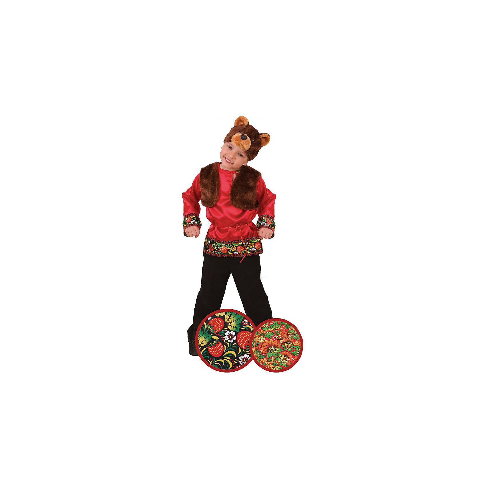 Карнавальный костюм Мишка Захарка (сатин), БатикКарнавальный костюм Мишка Захарка (сатин), Батик<br><br>Характеристики:<br><br>• Материал: 100% полиэстер.<br>• Цвет: разноцветный, коричневый.<br><br>В комплекте:<br><br>• рубашка;<br>• жилет;<br>• шапка – маска.<br><br><br>Карнавальный костюм для мальчиков «Мишка Захарка» выполнен в  русском стиле из текстильной ткани и качественного искусственного меха. В комплект карнавального костюма входит маска в виде мордочки медведя из меха коричневого цвета,  красная рубашка с эксклюзивными принтами под хохлому. Воротник рубашки застегивается на пуговицу, также рубашка подпоясывается красной нитью. Завершает образ Мишки Захарки меховая жилетка коричневого цвета. В таком карнавальном костюме, «Мишка Захарка»,  ваш мальчик получит максимальное удовольствие от праздника и подарит радость окружающим!<br><br>Карнавальный костюм Мишка Захарка, Батик можно купить в нашем интернет – магазине.<br><br>Ширина мм: 500<br>Глубина мм: 50<br>Высота мм: 700<br>Вес г: 600<br>Цвет: разноцветный<br>Возраст от месяцев: 60<br>Возраст до месяцев: 72<br>Пол: Мужской<br>Возраст: Детский<br>Размер: 30,26<br>SKU: 5092552