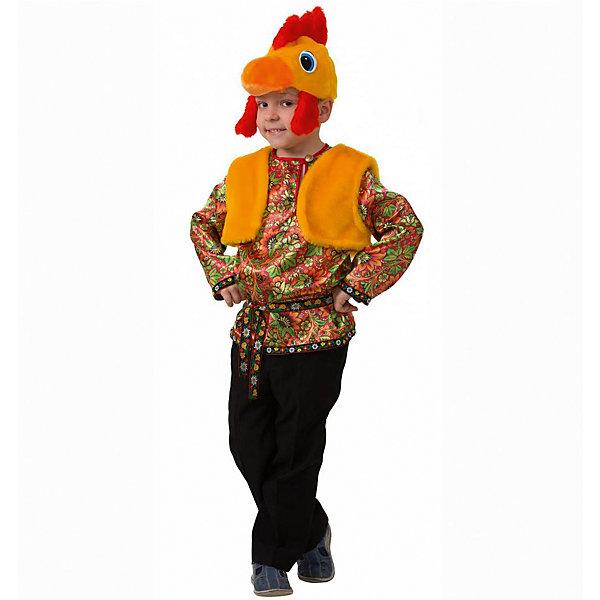 Карнавальный костюм Петушок Петруша (сатин), БатикКарнавальные костюмы для мальчиков<br>Карнавальный костюм Петушок Петруша (сатин), Батик<br><br>Характеристики:<br><br>• Материал: 100% полиэстер.<br>• Цвет: разноцветный, оранжевый.<br><br>В комплекте:<br><br>•  Разноцветная рубашка;<br>• жилет;<br>• шапка – маска.<br><br><br>Карнавальный костюм для мальчиков «Петушок Петруша» выполнен в  русском стиле из текстильной ткани и качественного искусственного меха. В комплект костюма входит рубашка ярких зеленых, оранжевых, желтых и красных цветов, выполненная с эксклюзивным принтом под хохлому, на воротнике рубашки застежка на пуговицу. Рубашка подпоясывается ленточкой с раскрасом под хохлому. Также в комплект карнавального костюма Петушок Петруша входит оранжевого цвета меховая жилетка и маска в виде мордочки петушка из оранжевого меха с ярким красным хохолком. В таком карнавальном костюме, «Петушок Петруша»,  ваш мальчик получит максимальное удовольствие от праздника и подарит радость окружающим!<br><br>Карнавальный костюм Петушок Петруша, Батик можно купить в нашем интернет – магазине.<br><br>Ширина мм: 500<br>Глубина мм: 50<br>Высота мм: 700<br>Вес г: 600<br>Возраст от месяцев: 60<br>Возраст до месяцев: 72<br>Пол: Мужской<br>Возраст: Детский<br>Размер: 28,30,26<br>SKU: 5092555