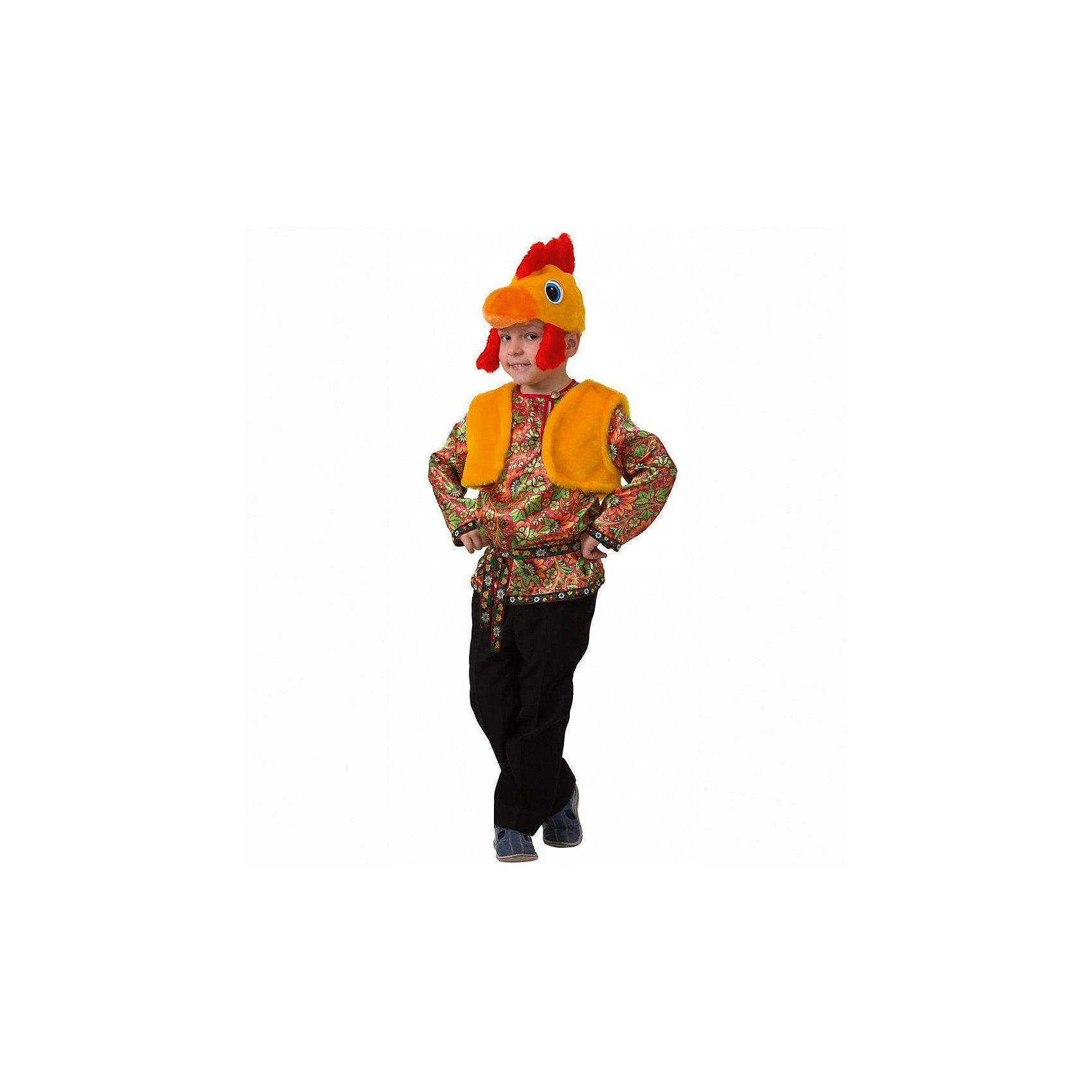 Карнавальный костюм Петушок Петруша (сатин), БатикВсё для праздника<br>Карнавальный костюм Петушок Петруша (сатин), Батик<br><br>Характеристики:<br><br>• Материал: 100% полиэстер.<br>• Цвет: разноцветный, оранжевый.<br><br>В комплекте:<br><br>•  Разноцветная рубашка;<br>• жилет;<br>• шапка – маска.<br><br><br>Карнавальный костюм для мальчиков «Петушок Петруша» выполнен в  русском стиле из текстильной ткани и качественного искусственного меха. В комплект костюма входит рубашка ярких зеленых, оранжевых, желтых и красных цветов, выполненная с эксклюзивным принтом под хохлому, на воротнике рубашки застежка на пуговицу. Рубашка подпоясывается ленточкой с раскрасом под хохлому. Также в комплект карнавального костюма Петушок Петруша входит оранжевого цвета меховая жилетка и маска в виде мордочки петушка из оранжевого меха с ярким красным хохолком. В таком карнавальном костюме, «Петушок Петруша»,  ваш мальчик получит максимальное удовольствие от праздника и подарит радость окружающим!<br><br>Карнавальный костюм Петушок Петруша, Батик можно купить в нашем интернет – магазине.<br><br>Ширина мм: 500<br>Глубина мм: 50<br>Высота мм: 700<br>Вес г: 600<br>Цвет: разноцветный<br>Возраст от месяцев: 60<br>Возраст до месяцев: 72<br>Пол: Мужской<br>Возраст: Детский<br>Размер: 30,26,28<br>SKU: 5092555