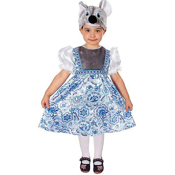 Карнавальный костюм Мышка Варварка (сатин), БатикКарнавальные костюмы для девочек<br>Карнавальный костюм Мышка Варварка (сатин), Батик<br><br>Характеристики:<br><br>• Материал: 100% полиэстер.<br>• Цвет: серый, голубой.<br><br>В комплекте:<br><br>• сарафан;<br>• шапка – маска.<br><br>Карнавальный костюм для девочек «Мышка Варварка» выполнен в  русском стиле из текстильной ткани и качественного искусственного меха В комплект наряда входит сарафан, выполненный в эксклюзивных принтах в виде гжель. Сарафан приятного голубого цвета, украшен серого цвета меховой вставкой, что дополняет образ. Рукава сарафана выполнены в виде фонариков белого цвета, манжеты выполнены из кружева. Завершает образ Мышки Варварки конечно же маска в виде мордочки мышки из серого меха. В таком карнавальном костюме, «Мышка Варварка»,  ваша девочка получит максимальное удовольствие от праздника и подарит радость окружающим!<br><br>Карнавальный костюм Мышка Варварка, Батик можно купить в нашем интернет – магазине.<br><br>Ширина мм: 500<br>Глубина мм: 50<br>Высота мм: 700<br>Вес г: 600<br>Цвет: белый<br>Возраст от месяцев: 36<br>Возраст до месяцев: 48<br>Пол: Женский<br>Возраст: Детский<br>Размер: 26,30,28<br>SKU: 5092562