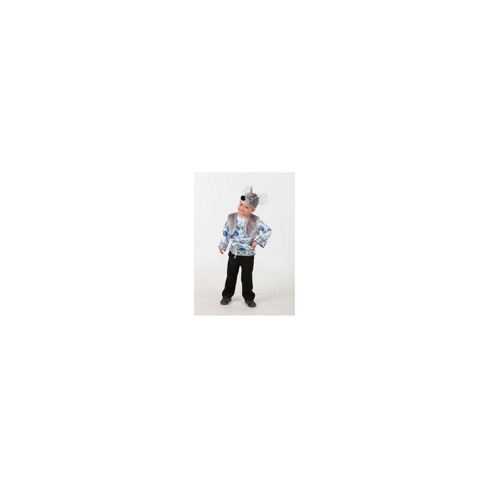 Карнавальный костюм Мышонок Филипка (сатин), БатикКарнавальные костюмы для девочек<br>Карнавальный костюм Мышонок Филипка (сатин), Батик<br><br>Характеристики:<br><br>• Материал: 100% полиэстер.<br>• Цвет:  серый, голубой.<br><br>В комплекте:<br><br>• Рубаха;<br>• жилет;<br>• шапка – маска.<br><br>Карнавальный костюм для мальчиков «Мышонок Филипка» выполнен в  русском стиле из текстильной ткани и качественного искусственного меха. В комплект костюма входит рубашка голубого цвета, выполненная с эксклюзивным принтом под гжель, на воротнике рубашки застежка на пуговицу. Рубашка подпоясывается синей нитью. Также в комплект карнавального костюма Мышонка Филипки входит серого цвета меховая жилетка и маска в виде мордочки мышонка из серого меха. В таком карнавальном костюме, «Мышонок Филипка»,  ваш мальчик получит максимальное удовольствие от праздника и подарит радость окружающим!<br><br>Карнавальный костюм Мышонок Филипка, Батик можно купить в нашем интернет – магазине.<br><br>Ширина мм: 500<br>Глубина мм: 50<br>Высота мм: 700<br>Вес г: 600<br>Цвет: белый<br>Возраст от месяцев: 60<br>Возраст до месяцев: 72<br>Пол: Мужской<br>Возраст: Детский<br>Размер: 30,26,28<br>SKU: 5092566
