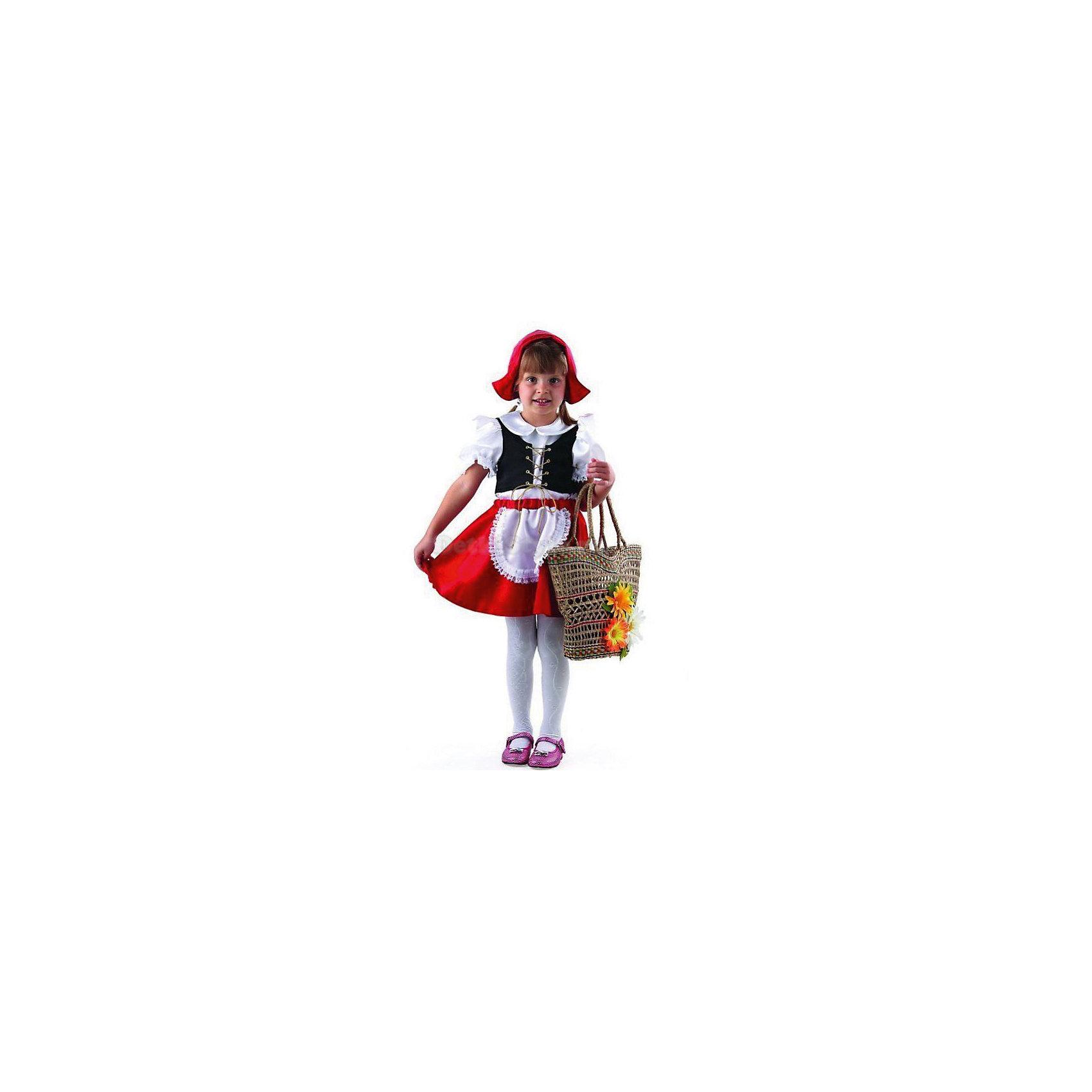 Карнавальный костюм Красная шапочка, БатикКарнавальный костюм Красная шапочка, Батик<br><br>Характеристики:<br><br>• Материал: бархат, шелк.<br>• Цвет: белый, красный, черный.<br><br>В комплекте:<br><br>• белая блузка;<br>• черный жилет;<br>• юбка с фартуком;<br>• красная шапочка. <br><br>Ваша девочка любит сказки? Тогда этот костюм для неё! В комплект входят белая блузка с черным жилетом, красной юбкой с  беленьким фартуком, отделанным кружевной тесьмой и красной шапочкой. Такой костюм можно использовать на новогодних утренниках, а также как театральный костюм. В таком костюме «Красная шапочка» ваша девочка получит максимальное удовольствие от праздника и подарит радость окружающим!<br><br>Карнавальный костюм Красная шапочка, Батик можно купить в нашем интернет – магазине.<br><br>Ширина мм: 500<br>Глубина мм: 50<br>Высота мм: 700<br>Вес г: 600<br>Цвет: разноцветный<br>Возраст от месяцев: 48<br>Возраст до месяцев: 60<br>Пол: Женский<br>Возраст: Детский<br>Размер: 28,32,30<br>SKU: 5092579