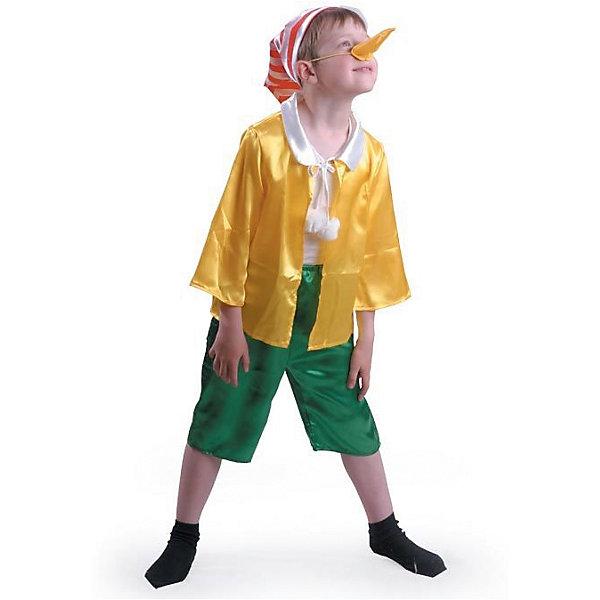 Карнавальный костюм Буратино, БатикКарнавальные костюмы для мальчиков<br>Карнавальный костюм Буратино, Батик<br><br>Характеристики:<br><br>• Материал: сатин, 100% полиэстер.<br>• Цвет: зеленый, желтый.<br><br>В комплекте:<br><br>• куртка;<br>• бриджи;<br>• колпак;<br>• нос. <br><br>Ваш мальчик любит истории про приключения Буратино? Тогда этот костюм для него! Сатиновая рубашка декорированная белым воротничком с завязками, на концах которых пампоны, и колпак с полосатым красно – белым принтом сразу привлекают внимание. Завершает наряд , конечно же, длинный нос! Такой костюм можно использовать на новогодних утренниках, а также как театральный костюм. В таком костюме «Буратино» ваш мальчик получит максимальное удовольствие от праздника и подарит радость окружающим!<br><br>Карнавальный костюм Буратино, Батик можно купить в нашем интернет – магазине.<br>Ширина мм: 500; Глубина мм: 50; Высота мм: 700; Вес г: 600; Возраст от месяцев: 48; Возраст до месяцев: 60; Пол: Мужской; Возраст: Детский; Размер: 28,32,30; SKU: 5092584;