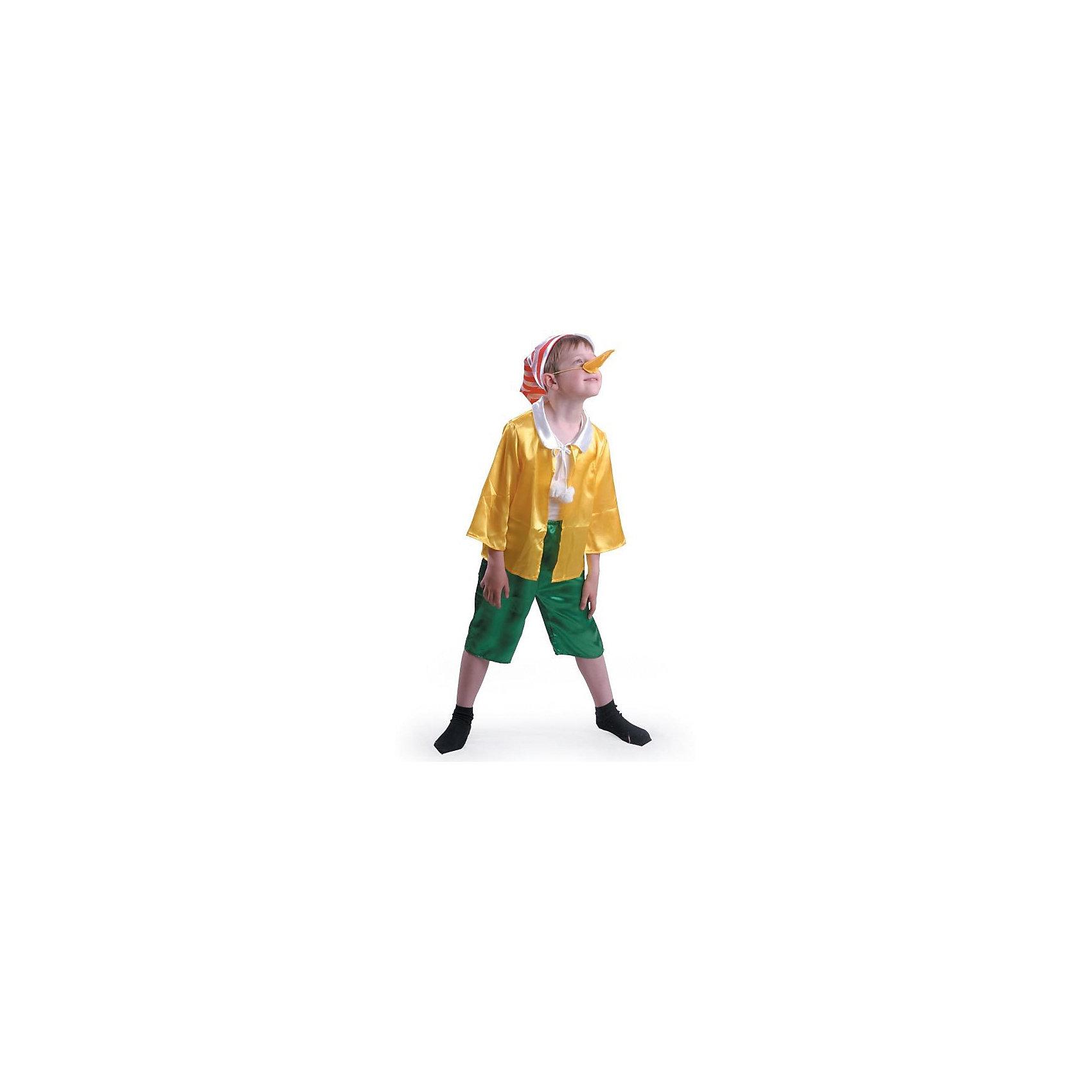 Карнавальный костюм Буратино, БатикМаски и карнавальные костюмы<br>Карнавальный костюм Буратино, Батик<br><br>Характеристики:<br><br>• Материал: сатин, 100% полиэстер.<br>• Цвет: зеленый, желтый.<br><br>В комплекте:<br><br>• куртка;<br>• бриджи;<br>• колпак;<br>• нос. <br><br>Ваш мальчик любит истории про приключения Буратино? Тогда этот костюм для него! Сатиновая рубашка декорированная белым воротничком с завязками, на концах которых пампоны, и колпак с полосатым красно – белым принтом сразу привлекают внимание. Завершает наряд , конечно же, длинный нос! Такой костюм можно использовать на новогодних утренниках, а также как театральный костюм. В таком костюме «Буратино» ваш мальчик получит максимальное удовольствие от праздника и подарит радость окружающим!<br><br>Карнавальный костюм Буратино, Батик можно купить в нашем интернет – магазине.<br><br>Ширина мм: 500<br>Глубина мм: 50<br>Высота мм: 700<br>Вес г: 600<br>Цвет: разноцветный<br>Возраст от месяцев: 84<br>Возраст до месяцев: 96<br>Пол: Мужской<br>Возраст: Детский<br>Размер: 32,28,30<br>SKU: 5092584