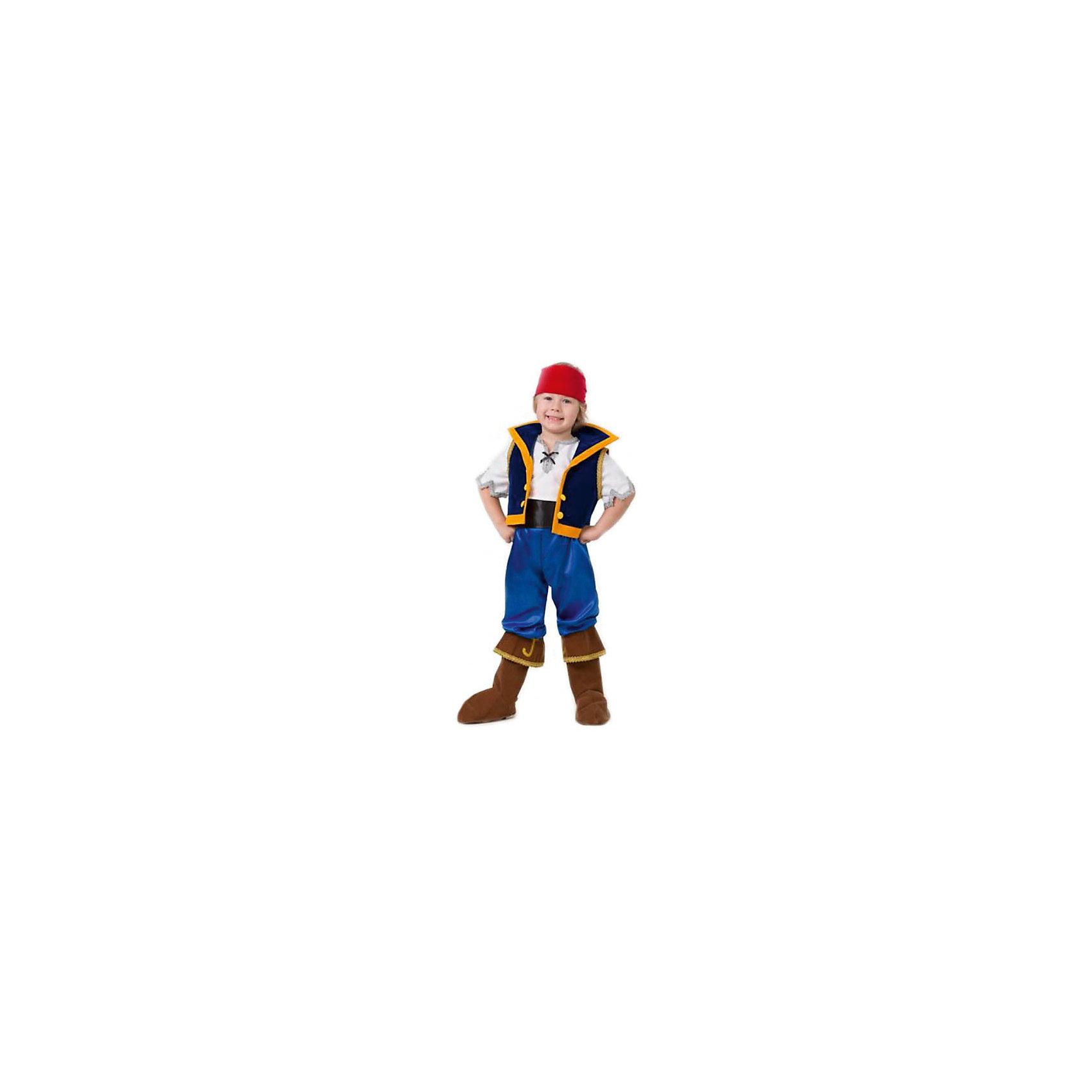 Карнавальный костюм Джейк, БатикМаски и карнавальные костюмы<br>Карнавальный костюм Джейк, Батик<br><br>Характеристики:<br><br>• Материал: сатин, бархат,  100% полиэстер.<br>• Цвет: белый, красный, синий.<br><br>В комплекте:<br><br>• рубаха;<br>• жилет;<br>• штаны с сапогами;<br>• пояс;<br>• бандана. <br><br>Детский карнавальный костюм Джейк из захватывающего приключенческого мультфильма Джейк и Пираты Нетландии. В комплект этого карнавального костюма входит белая рубаха с серебряной тесьмой по краям рукавов и по краю горловины, жилет темно-синего цвета с ярко-желтыми большими пуговицами, ярко-синие брюки с коричневыми сапогами, широкий черный пояс и красная бандана. Такой костюм можно использовать на новогодних утренниках, а также как театральный костюм. В таком костюме «Джейка» ваш мальчик получит максимальное удовольствие от праздника и подарит радость окружающим!<br><br>Карнавальный костюм Джейк, Батик можно купить в нашем интернет – магазине.<br><br>Ширина мм: 500<br>Глубина мм: 50<br>Высота мм: 700<br>Вес г: 600<br>Цвет: разноцветный<br>Возраст от месяцев: 48<br>Возраст до месяцев: 60<br>Пол: Мужской<br>Возраст: Детский<br>Размер: 28,30,26<br>SKU: 5092588