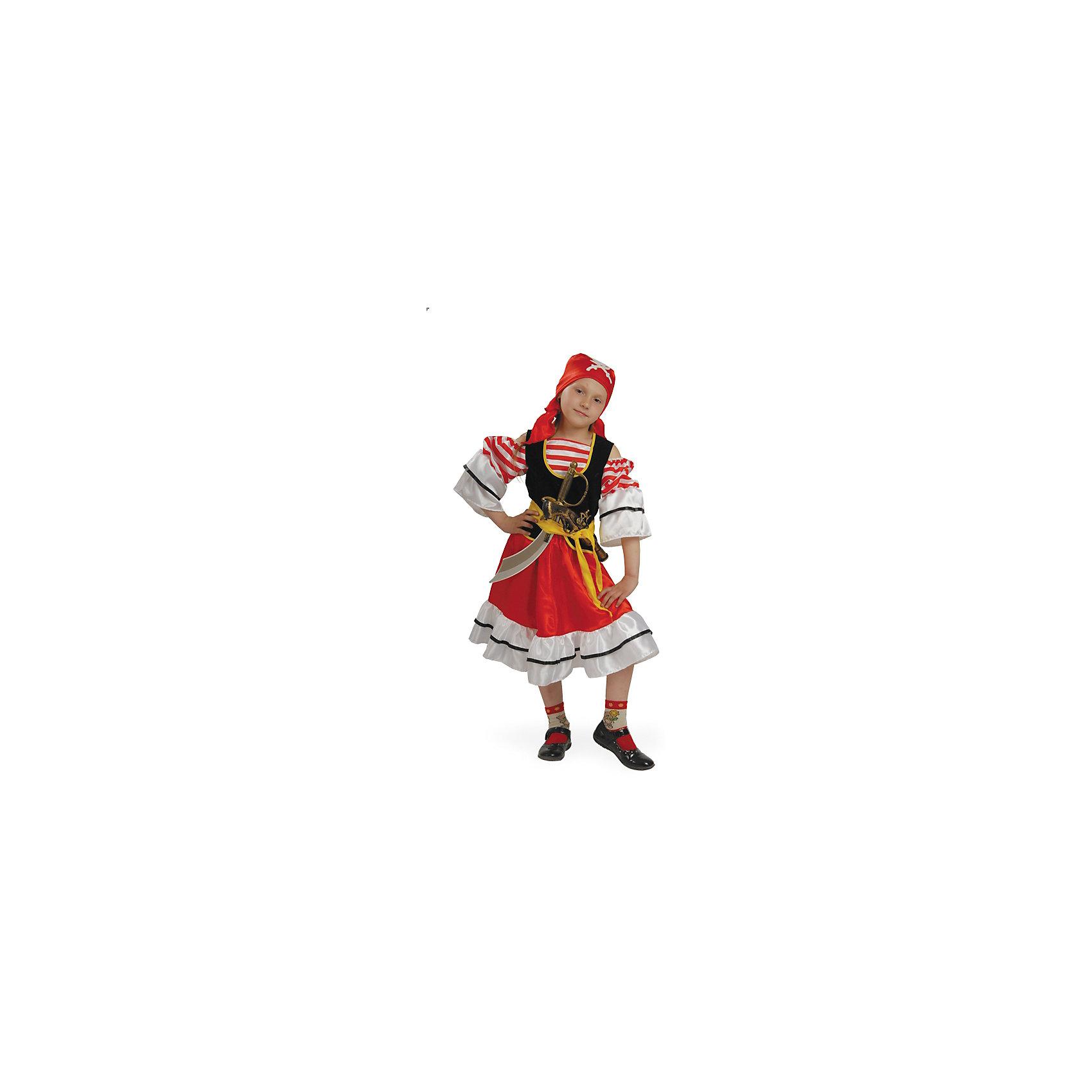 Карнавальный костюм Пиратка, БатикКарнавальный костюм Пиратка, Батик<br><br>Характеристики:<br><br>• Материал: 100% полиэстер.<br>• Цвет: красный, зеленый, золотой.<br><br>В комплекте:<br><br>• юбка;<br>• блуза-камзол;<br>• широкий пояс;<br>• шляпа;<br>• юбка;<br>• сабля и мушкет<br><br>Ваша девочка любит истории о приключениях и запрятанных сокровищах? Тогда этот карнавальный костюм «Пиратка» для неё! Белоснежная  блуза- камзол украшена кружевными рюшами и красными ленточками, а также золотым принтом. Шляпа и прозрачная юбка декорированы  пиратским принтом. Завершают образ мушкет и сабля. В таком карнавальном костюме, «Пиратка»,  ваша девочка получит максимальное удовольствие от праздника и подарит радость окружающим!<br><br>Карнавальный костюм Пиратка, Батик можно купить в нашем интернет – магазине.<br><br>Ширина мм: 500<br>Глубина мм: 50<br>Высота мм: 700<br>Вес г: 600<br>Цвет: разноцветный<br>Возраст от месяцев: 60<br>Возраст до месяцев: 72<br>Пол: Женский<br>Возраст: Детский<br>Размер: 30<br>SKU: 5092597
