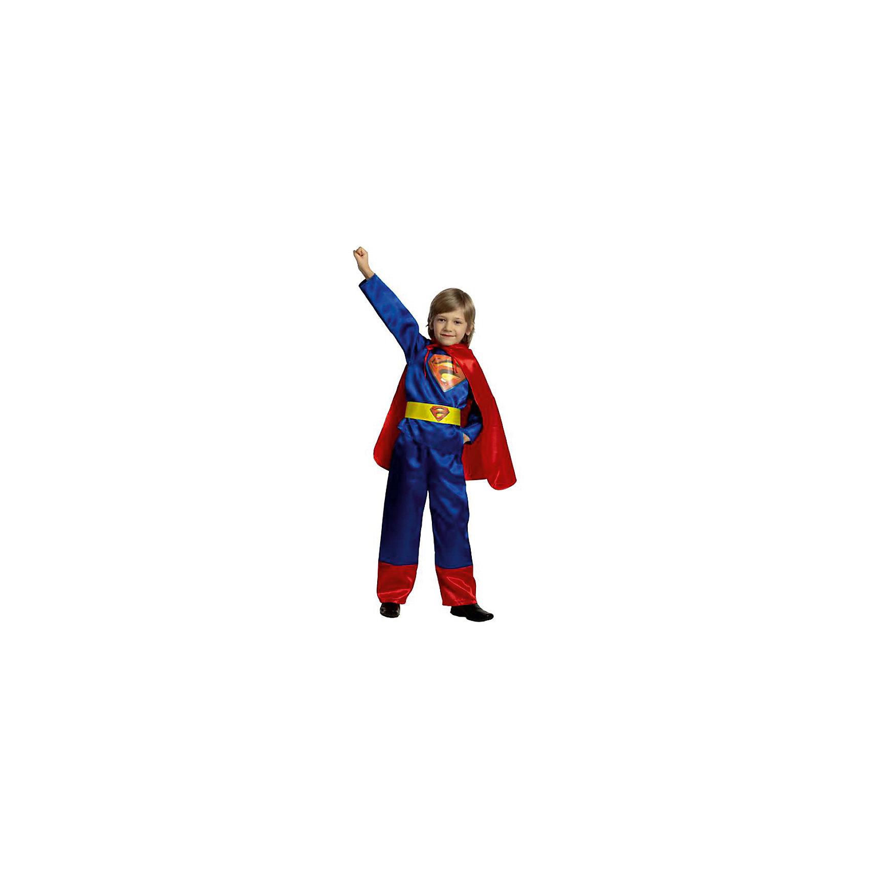 Карнавальный костюм Супермен (текстиль), БатикКарнавальный костюм Супермен (текстиль), Батик<br><br>Характеристики:<br><br>• Материал: бархат (100% полиэстер). <br>• Цвет: синий, красный.<br><br>В комплекте:<br><br>• брюки;<br>• куртка;<br>• плащ;<br>• пояс.<br><br>Образ Супермена хотел бы примерить на себя каждый мальчишка. Этот карнавальный костюм предоставит такую возможность вашему мальчику и станет для него прекрасным подарком. Брюки прямого покроя, пояс собран на резинке. Плащ крепится на завязках. Куртка и пояс декорированы эмблемой супермена. В таком карнавальном костюме, «Супермен»,  ваш мальчик получит максимальное удовольствие от праздника и подарит радость окружающим!<br><br>Карнавальный костюм Супермен, Батик можно купить в нашем интернет – магазине.<br><br>Ширина мм: 500<br>Глубина мм: 50<br>Высота мм: 700<br>Вес г: 600<br>Цвет: разноцветный<br>Возраст от месяцев: 36<br>Возраст до месяцев: 48<br>Пол: Мужской<br>Возраст: Детский<br>Размер: 26,30,28,28<br>SKU: 5092599