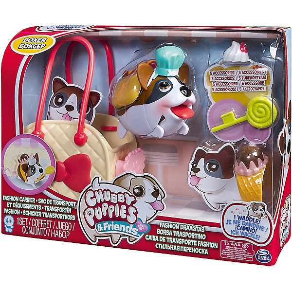 Набор с сумкой-переноской Боксер, Chubby PuppiesИгровые фигурки животных<br>Характеристики товара:<br><br>- цвет: разноцветный;<br>- материал: пластик;<br>- размер упаковки: 25х8х19 см;<br>- вес: 310 г;<br>- комплектация: игрушка, аксессуары, сумка-переноска. <br><br>Игрушки от бренда Chubby Puppies - это симпатичные животные, которые умеют забавно двигаться. Эта игрушка очень качественно выполнена, поэтому она станет отличным подарком ребенку. Такое изделие отлично тренирует у ребенка разные навыки: играя с ней, малыш развивает мелкую моторику, цветовосприятие, внимание, воображение и творческое мышление.<br>Данная модель дополнена аксессуарами и сумкой-переноской. Изделие произведено из высококачественного материала, безопасного для детей.<br><br>Набор с сумкой-переноской Боксер от бренда Chubby Puppies можно купить в нашем интернет-магазине.<br><br>Ширина мм: 80<br>Глубина мм: 190<br>Высота мм: 250<br>Вес г: 310<br>Возраст от месяцев: 36<br>Возраст до месяцев: 2147483647<br>Пол: Унисекс<br>Возраст: Детский<br>SKU: 5094037