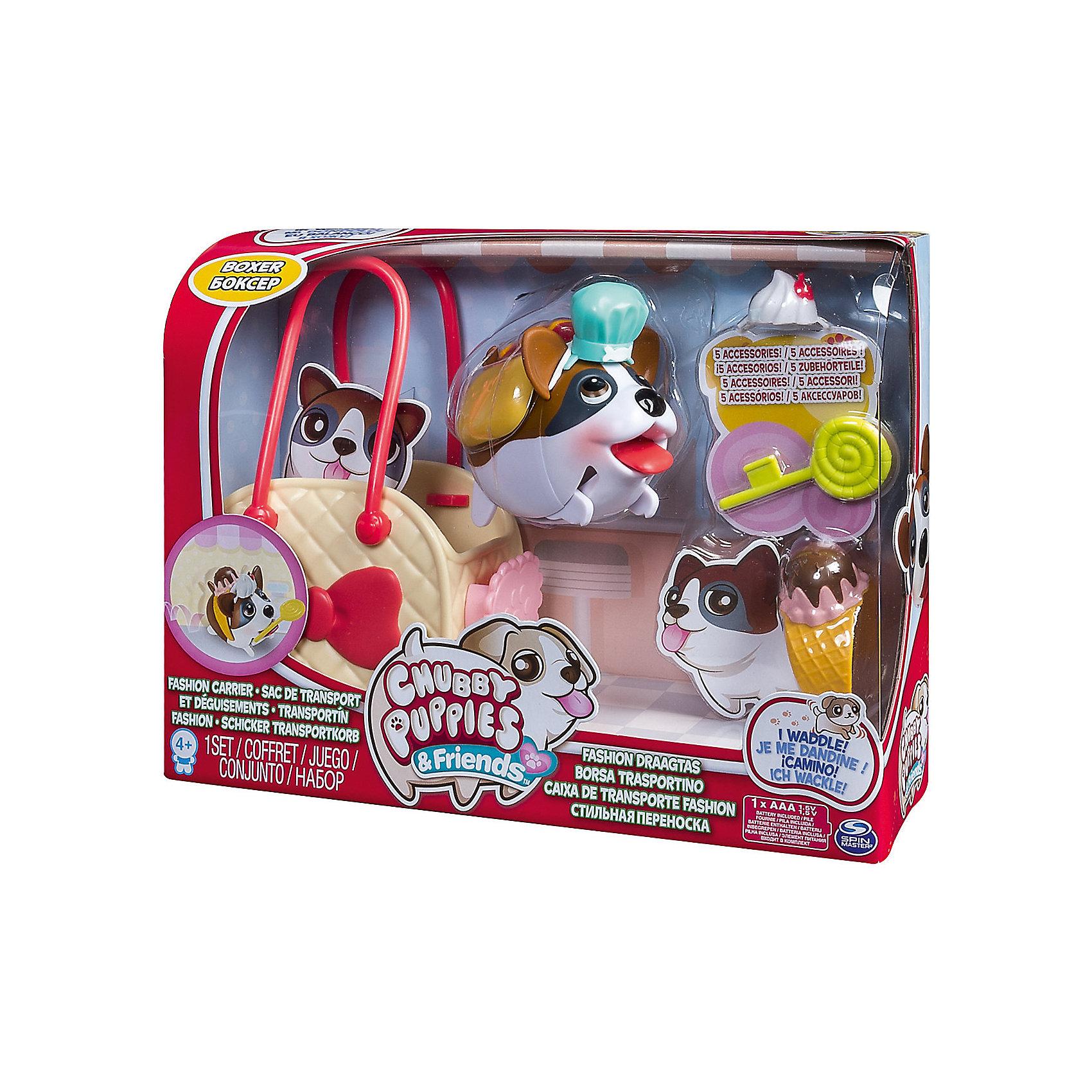 Набор с сумкой-переноской Боксер, Chubby PuppiesМир животных<br>Характеристики товара:<br><br>- цвет: разноцветный;<br>- материал: пластик;<br>- размер упаковки: 25х8х19 см;<br>- вес: 310 г;<br>- комплектация: игрушка, аксессуары, сумка-переноска. <br><br>Игрушки от бренда Chubby Puppies - это симпатичные животные, которые умеют забавно двигаться. Эта игрушка очень качественно выполнена, поэтому она станет отличным подарком ребенку. Такое изделие отлично тренирует у ребенка разные навыки: играя с ней, малыш развивает мелкую моторику, цветовосприятие, внимание, воображение и творческое мышление.<br>Данная модель дополнена аксессуарами и сумкой-переноской. Изделие произведено из высококачественного материала, безопасного для детей.<br><br>Набор с сумкой-переноской Боксер от бренда Chubby Puppies можно купить в нашем интернет-магазине.<br><br>Ширина мм: 80<br>Глубина мм: 190<br>Высота мм: 250<br>Вес г: 310<br>Возраст от месяцев: 36<br>Возраст до месяцев: 2147483647<br>Пол: Унисекс<br>Возраст: Детский<br>SKU: 5094037