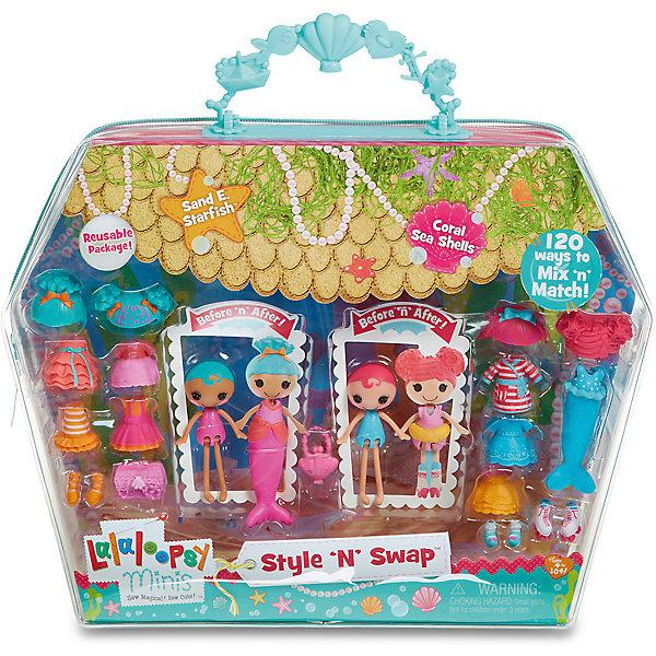 Игровой набор Мини-Лалалупси, Старфиш, с двумя куклами и аксессуарамиКуклы<br>Характеристики товара:<br><br>- цвет: разноцветный;<br>- материал: пластик;<br>- подвижные части тела;<br>- комплектация: 2 куклы, аксессуары;<br>- размер упаковки: 5 x 33 x 25 см.<br><br>Эти симпатичные куклы Мини-Лалалупси от известного бренда не оставят девочку равнодушной! Какая девочка сможет отказаться поиграть с куклами, которых можно переодевать и менять им прически благодаря набору аксессуаров?! В комплект входят наряды, обувь и парики - всего 20 предметов. Игрушка очень качественно выполнена, поэтому она станет замечательным подарком ребенку. <br>Продается набор в красивой удобной упаковке. Изделие произведено из высококачественного материала, безопасного для детей.<br><br>Игровой набор Мини-Лалалупси, Старфиш, с двумя куклами и аксессуарами, можно купить в нашем интернет-магазине.<br>Ширина мм: 330; Глубина мм: 270; Высота мм: 50; Вес г: 373; Возраст от месяцев: 36; Возраст до месяцев: 2147483647; Пол: Женский; Возраст: Детский; SKU: 5094051;