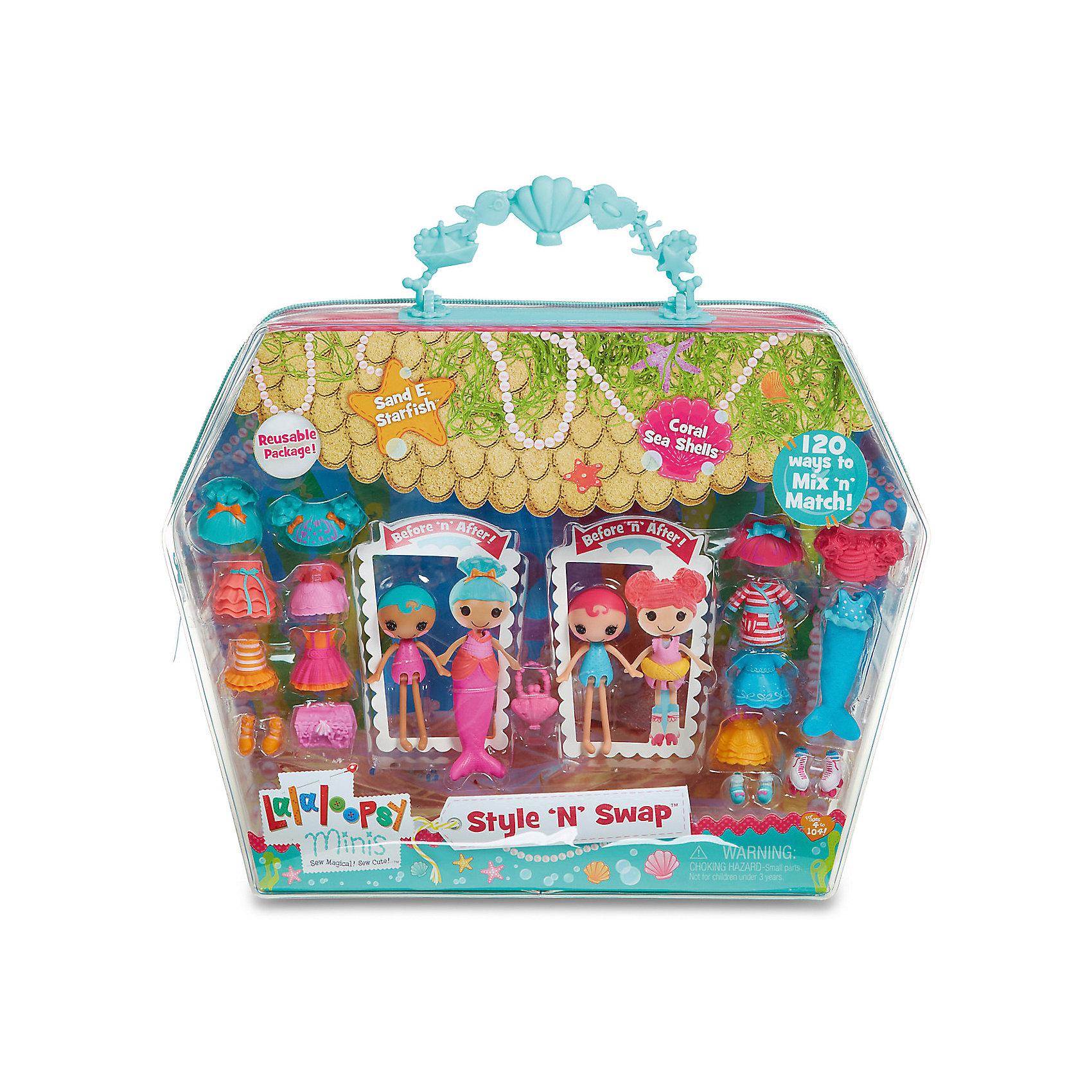 Игровой набор Мини-Лалалупси, Старфиш, с двумя куклами и аксессуарамиПопулярные игрушки<br>Характеристики товара:<br><br>- цвет: разноцветный;<br>- материал: пластик;<br>- подвижные части тела;<br>- комплектация: 2 куклы, аксессуары;<br>- размер упаковки: 5 x 33 x 25 см.<br><br>Эти симпатичные куклы Мини-Лалалупси от известного бренда не оставят девочку равнодушной! Какая девочка сможет отказаться поиграть с куклами, которых можно переодевать и менять им прически благодаря набору аксессуаров?! В комплект входят наряды, обувь и парики - всего 20 предметов. Игрушка очень качественно выполнена, поэтому она станет замечательным подарком ребенку. <br>Продается набор в красивой удобной упаковке. Изделие произведено из высококачественного материала, безопасного для детей.<br><br>Игровой набор Мини-Лалалупси, Старфиш, с двумя куклами и аксессуарами, можно купить в нашем интернет-магазине.<br><br>Ширина мм: 330<br>Глубина мм: 270<br>Высота мм: 50<br>Вес г: 373<br>Возраст от месяцев: 36<br>Возраст до месяцев: 2147483647<br>Пол: Женский<br>Возраст: Детский<br>SKU: 5094051