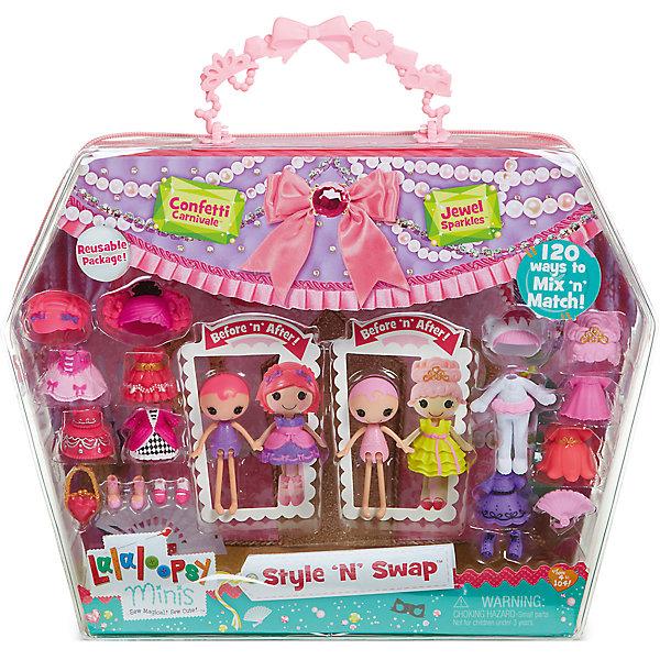 Игровой набор Мини-Лалалупси, Карнавал, с двумя куклами и аксессуарамиКуклы<br>Характеристики товара:<br><br>- цвет: разноцветный;<br>- материал: пластик;<br>- подвижные части тела;<br>- комплектация: 2 куклы, аксессуары;<br>- размер упаковки: 5 x 33 x 25 см.<br><br>Эти симпатичные куклы Мини-Лалалупси от известного бренда не оставят девочку равнодушной! Какая девочка сможет отказаться поиграть с куклами, которых можно переодевать и менять им прически благодаря набору аксессуаров?! В комплект входят наряды, обувь и парики - всего 20 предметов. Игрушка очень качественно выполнена, поэтому она станет замечательным подарком ребенку. <br>Продается набор в красивой удобной упаковке. Изделие произведено из высококачественного материала, безопасного для детей.<br><br>Игровой набор Мини-Лалалупси, Карнавал, с двумя куклами и аксессуарами, можно купить в нашем интернет-магазине.<br><br>Ширина мм: 330<br>Глубина мм: 270<br>Высота мм: 50<br>Вес г: 373<br>Возраст от месяцев: 36<br>Возраст до месяцев: 2147483647<br>Пол: Женский<br>Возраст: Детский<br>SKU: 5094052