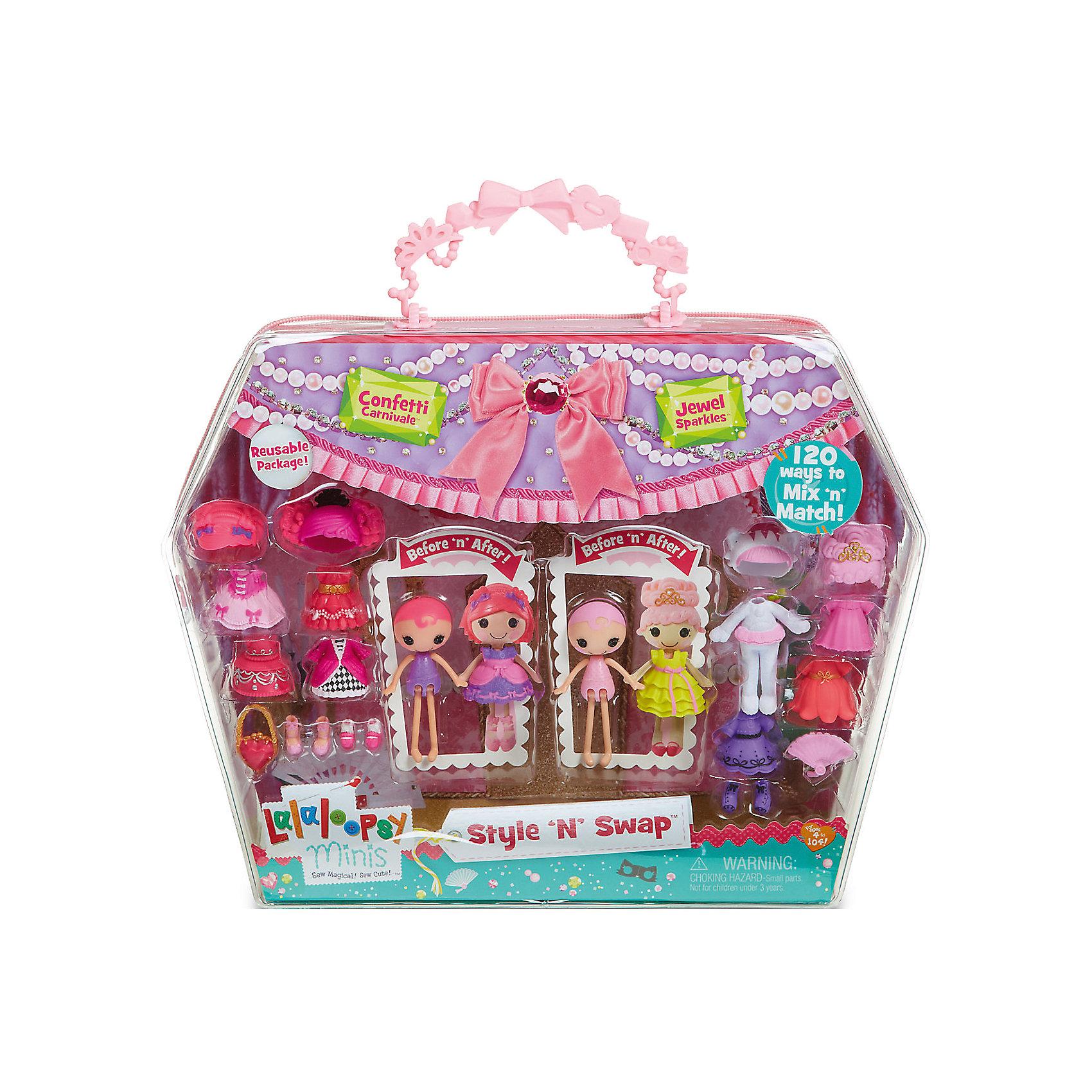Игровой набор Мини-Лалалупси, Карнавал, с двумя куклами и аксессуарамиИгрушечные домики и замки<br>Характеристики товара:<br><br>- цвет: разноцветный;<br>- материал: пластик;<br>- подвижные части тела;<br>- комплектация: 2 куклы, аксессуары;<br>- размер упаковки: 5 x 33 x 25 см.<br><br>Эти симпатичные куклы Мини-Лалалупси от известного бренда не оставят девочку равнодушной! Какая девочка сможет отказаться поиграть с куклами, которых можно переодевать и менять им прически благодаря набору аксессуаров?! В комплект входят наряды, обувь и парики - всего 20 предметов. Игрушка очень качественно выполнена, поэтому она станет замечательным подарком ребенку. <br>Продается набор в красивой удобной упаковке. Изделие произведено из высококачественного материала, безопасного для детей.<br><br>Игровой набор Мини-Лалалупси, Карнавал, с двумя куклами и аксессуарами, можно купить в нашем интернет-магазине.<br><br>Ширина мм: 330<br>Глубина мм: 270<br>Высота мм: 50<br>Вес г: 373<br>Возраст от месяцев: 36<br>Возраст до месяцев: 2147483647<br>Пол: Женский<br>Возраст: Детский<br>SKU: 5094052