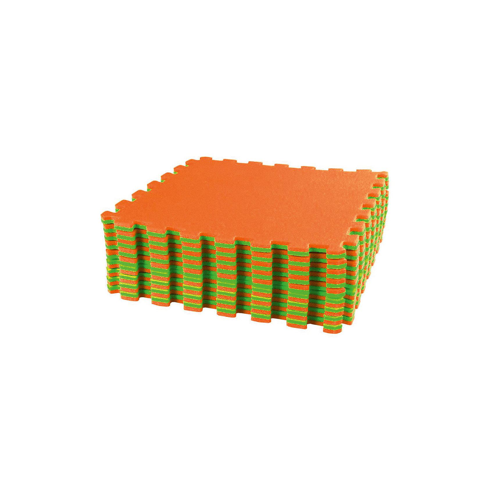 Коврик спортивный (1270х1270), Alternativa, салатовый-оранжевый