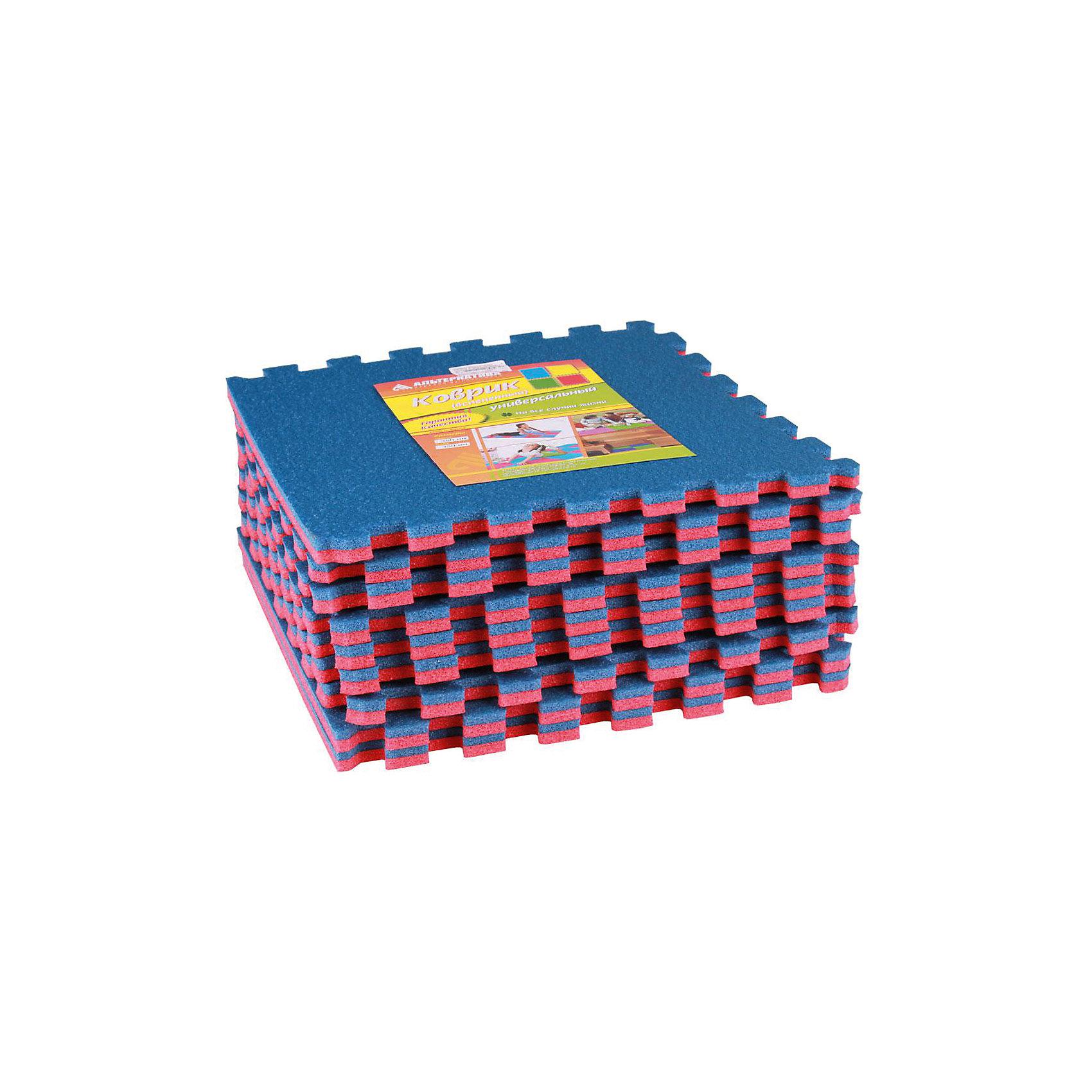 Коврик универ.(1020х1020)(из 9шт), Alternativa, красно-синий