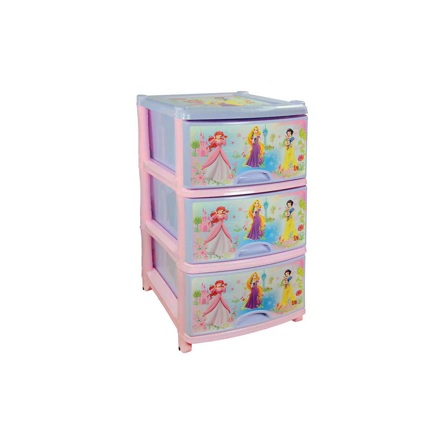 Комод Дисней №1 (для девоч.) 3-х секционный, AlternativaПорядок в детской<br>Характеристики:<br><br>• Предназначение: для хранения игрушек, одежды, канцелярских принадлежностей и материалов для творчества<br>• Пол: для девочки<br>• Материал: пластик<br>• Цвет: розовый, голубой, желтый, сиреневый<br>• Размер (Д*Ш*В):  48*38*74 см<br>• Вес: 4 кг 200 г<br>• Количество секций: 3 шт.<br>• Тип ящиков: выдвижные, с ручками<br>• В комплекте имеется инструкция по сборке<br>• Форма: прямоугольный<br>• Особенности ухода: разрешается мыть теплой водой<br><br>Комод Дисней №1 3-х секционный, Alternativa изготовлен отечественным производителем ООО ЗПИ Альтернатива, который специализируется на выпуске широкого спектра изделий и предметов мебели из пластика. Комод выполнен из экологически безопасного материала, устойчивого к механическим повреждениям. Имеет компактный размер и повышенную вместимость за счет глубоких ящиков. Каркас комода устойчивый, ножки оснащены маленькими колесиками для удобства передвижения. Ящики оформлены в ярких орнаментах, устойчивых к выгоранию на ярком свете. Комод Дисней №1 3-х секционный, Alternativa станет не только полезным для хранения игрушек, одежды и различных принадлежностей, но и ярким предметом интерьера. <br><br>Комод Дисней №1 3-х секционный, Alternativa можно купить в нашем интернет-магазине.<br><br>Ширина мм: 480<br>Глубина мм: 360<br>Высота мм: 740<br>Вес г: 3444<br>Возраст от месяцев: -2147483648<br>Возраст до месяцев: 2147483647<br>Пол: Женский<br>Возраст: Детский<br>SKU: 5096520