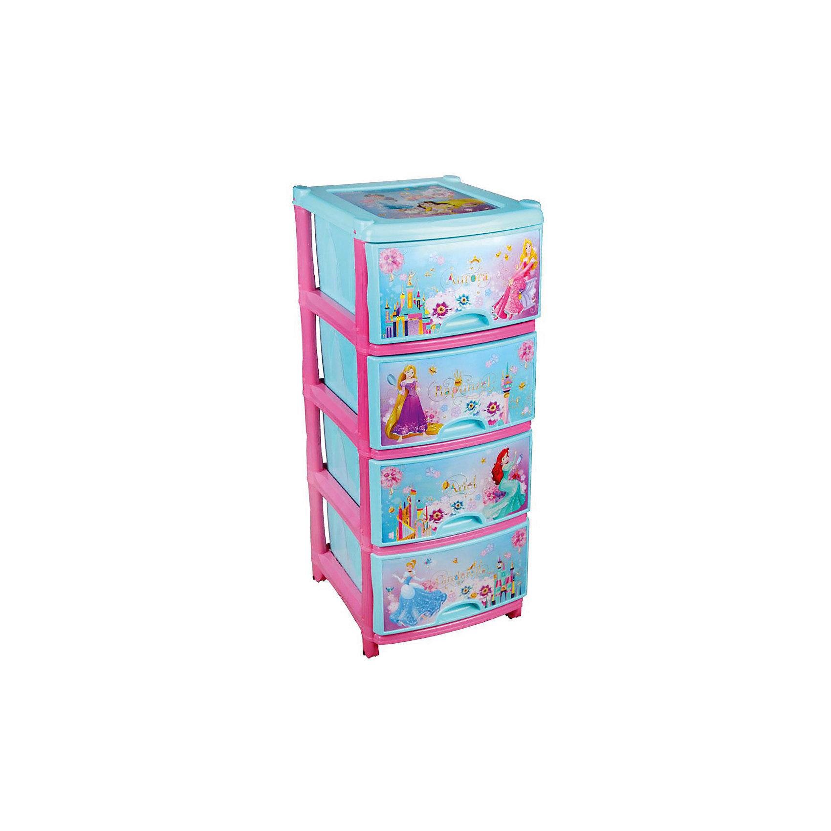Комод Принцессы Дисней №4 4-х секц., AlternativaПорядок в детской<br>Характеристики:<br><br>• Предназначение: для хранения игрушек, одежды, канцелярских принадлежностей и материалов для творчества<br>• Пол: для девочки<br>• Материал: пластик<br>• Цвет: розовый, голубой, желтый<br>• Размер (Д*Ш*В):  48*38*98 см<br>• Вес: 5 кг 250 г<br>• Количество секций: 4 шт.<br>• Тип ящиков: выдвижные, с ручками<br>• В комплекте имеется инструкция по сборке<br>• Форма: прямоугольный<br>• Особенности ухода: разрешается мыть теплой водой<br><br>Комод Дисней №4 4-х секц., Alternativa изготовлен отечественным производителем ООО ЗПИ Альтернатива, который специализируется на выпуске широкого спектра изделий и предметов мебели из пластика. Комод выполнен из экологически безопасного материала, устойчивого к механическим повреждениям. Имеет компактный размер и повышенную вместимость за счет глубоких ящиков. Каркас комода устойчивый, ножки оснащены маленькими колесиками для удобства передвижения. Ящики оформлены сюжетами с самыми знаменитыми и любимыми принцессами Диснея. Комод Дисней №4 4-х секц., Alternativa станет не только полезным для хранения игрушек, одежды и различных принадлежностей, но и ярким предметом интерьера. <br><br>Комод Дисней №4 4-х секц., Alternativa можно купить в нашем интернет-магазине.<br><br>Ширина мм: 480<br>Глубина мм: 380<br>Высота мм: 980<br>Вес г: 4441<br>Возраст от месяцев: -2147483648<br>Возраст до месяцев: 2147483647<br>Пол: Женский<br>Возраст: Детский<br>SKU: 5096523