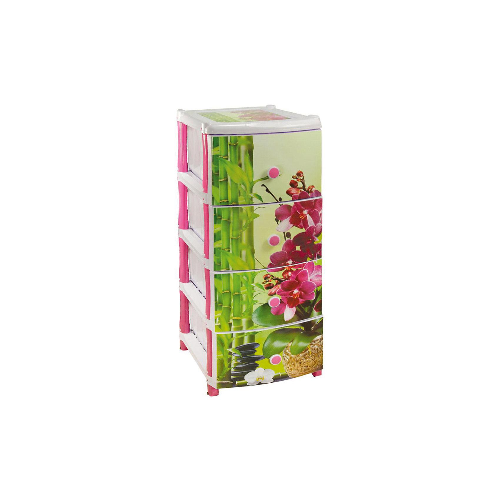 Комод Орхидея 4-х секционный, AlternativaМебель<br>Характеристики:<br><br>• Предназначение: для кухни, для ванной, для детской<br>• Пол: для девочки<br>• Материал: пластик<br>• Цвет: розовый, зеленый<br>• Размер (Д*Ш*В):  50*39*98 см<br>• Вес: 5 кг 300 г<br>• Количество секций: 4 шт.<br>• Тип ящиков: выдвижные, с круглыми ручками<br>• В комплекте имеется инструкция по сборке<br>• Форма: прямоугольный<br>• Особенности ухода: разрешается мыть теплой водой<br><br>Комод Орхидея 4-х секционный, Alternativa изготовлен отечественным производителем ООО ЗПИ Альтернатива, который специализируется на выпуске широкого спектра изделий и предметов мебели из пластика. Комод выполнен из экологически безопасного материала, устойчивого к механическим повреждениям. Имеет компактный размер и повышенную вместимость за счет глубоких ящиков. Каркас комода устойчивый, ножки оснащены маленькими колесиками для удобства передвижения.  Ящики оформлены рисунком из стеблей бамбука и крупных цветов орхидеи. Комод Орхидея 4-х секционный, Alternativa станет не только полезным для хранения различных принадлежностей, но и ярким предметом интерьера. <br><br>Комод Орхидея 4-х секционный, Alternativa можно купить в нашем интернет-магазине.<br><br>Ширина мм: 500<br>Глубина мм: 390<br>Высота мм: 980<br>Вес г: 4641<br>Возраст от месяцев: 6<br>Возраст до месяцев: 84<br>Пол: Женский<br>Возраст: Детский<br>SKU: 5096525