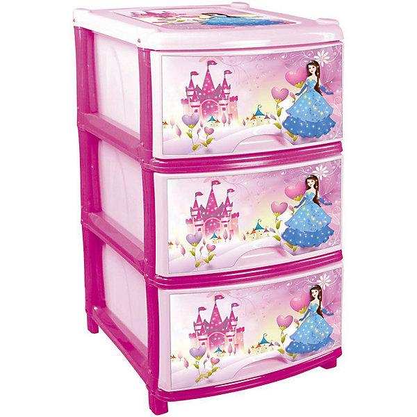 Комод (для девочек) 3-х секционный, AlternativaДетские комоды<br>Характеристики:<br><br>• Предназначение: для детской комнаты<br>• Пол: для девочки<br>• Материал: пластик<br>• Цвет: розовый, голубой, желтый<br>• Размер (Д*Ш*В):  48*38*74 см<br>• Вес: 4 кг 200 г<br>• Количество секций: 3 шт.<br>• Тип ящиков: выдвижные, с ручками<br>• В комплекте имеется инструкция по сборке<br>• Форма: прямоугольный<br>• Особенности ухода: разрешается мыть теплой водой<br><br>Комод (для девочек) 3-х секционный, Alternativa изготовлен отечественным производителем ООО ЗПИ Альтернатива, который специализируется на выпуске широкого спектра изделий и предметов мебели из пластика. Комод выполнен из экологически безопасного материала, устойчивого к механическим повреждениям. Имеет компактный размер и повышенную вместимость за счет глубоких ящиков. Каркас комода устойчивый, ножки оснащены маленькими колесиками для удобства передвижения. Выдвижные ящики оформлены декором сюжетных картинок с принцессой. Комод (для девочек) 3-х секционный, Alternativa станет не только полезным для хранения различных принадлежностей, но и ярким предметом интерьера. <br><br>Комод (для девочек) 3-х секционный, Alternativa можно купить в нашем интернет-магазине.<br><br>Ширина мм: 480<br>Глубина мм: 380<br>Высота мм: 740<br>Вес г: 3414<br>Возраст от месяцев: -2147483648<br>Возраст до месяцев: 2147483647<br>Пол: Женский<br>Возраст: Детский<br>SKU: 5096537