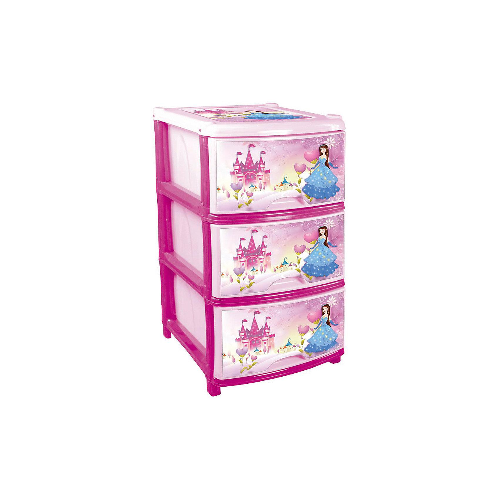 Комод (для девочек) 3-х секционный, AlternativaМебель<br>Характеристики:<br><br>• Предназначение: для детской комнаты<br>• Пол: для девочки<br>• Материал: пластик<br>• Цвет: розовый, голубой, желтый<br>• Размер (Д*Ш*В):  48*38*74 см<br>• Вес: 4 кг 200 г<br>• Количество секций: 3 шт.<br>• Тип ящиков: выдвижные, с ручками<br>• В комплекте имеется инструкция по сборке<br>• Форма: прямоугольный<br>• Особенности ухода: разрешается мыть теплой водой<br><br>Комод (для девочек) 3-х секционный, Alternativa изготовлен отечественным производителем ООО ЗПИ Альтернатива, который специализируется на выпуске широкого спектра изделий и предметов мебели из пластика. Комод выполнен из экологически безопасного материала, устойчивого к механическим повреждениям. Имеет компактный размер и повышенную вместимость за счет глубоких ящиков. Каркас комода устойчивый, ножки оснащены маленькими колесиками для удобства передвижения. Выдвижные ящики оформлены декором сюжетных картинок с принцессой. Комод (для девочек) 3-х секционный, Alternativa станет не только полезным для хранения различных принадлежностей, но и ярким предметом интерьера. <br><br>Комод (для девочек) 3-х секционный, Alternativa можно купить в нашем интернет-магазине.<br><br>Ширина мм: 480<br>Глубина мм: 380<br>Высота мм: 740<br>Вес г: 3414<br>Возраст от месяцев: -2147483648<br>Возраст до месяцев: 2147483647<br>Пол: Женский<br>Возраст: Детский<br>SKU: 5096537