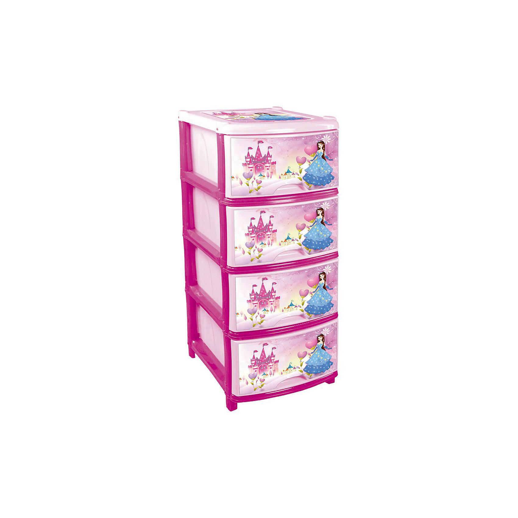 Комод (для девочек) 4-х секционный, AlternativaХарактеристики:<br><br>• Предназначение: для детской комнаты<br>• Пол: для девочки<br>• Материал: пластик<br>• Цвет: розовый, голубой, желтый<br>• Размер (Д*Ш*В):  48*38*98 см<br>• Вес: 5 кг 300 г<br>• Количество секций: 4 шт.<br>• Тип ящиков: выдвижные, с ручками<br>• В комплекте имеется инструкция по сборке<br>• Форма: прямоугольный<br>• Особенности ухода: разрешается мыть теплой водой<br><br>Комод (для девочек) 4-х секционный, Alternativa изготовлен отечественным производителем ООО ЗПИ Альтернатива, который специализируется на выпуске широкого спектра изделий и предметов мебели из пластика. Комод выполнен из экологически безопасного материала, устойчивого к механическим повреждениям. Имеет компактный размер и повышенную вместимость за счет глубоких ящиков. Каркас комода устойчивый, ножки оснащены маленькими колесиками для удобства передвижения. Выдвижные ящики оформлены декором сюжетных картинок с принцессой. Комод (для девочек) 4-х секционный, Alternativa станет не только полезным для хранения различных принадлежностей, но и ярким предметом интерьера. <br><br>Комод (для девочек) 4-х секционный, Alternativa можно купить в нашем интернет-магазине.<br><br>Ширина мм: 480<br>Глубина мм: 380<br>Высота мм: 980<br>Вес г: 4408<br>Возраст от месяцев: -2147483648<br>Возраст до месяцев: 2147483647<br>Пол: Женский<br>Возраст: Детский<br>SKU: 5096538