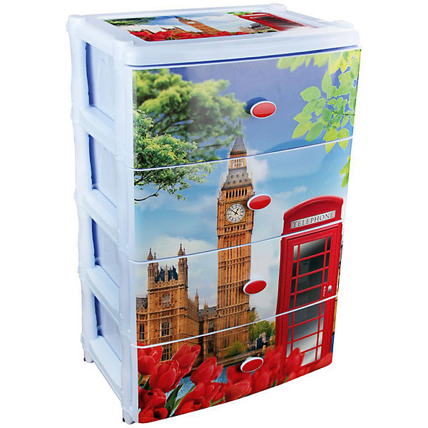 Комод широкий Лондон 4-х секцион. , AlternativaДетские комоды<br>Характеристики:<br><br>• Предназначение: для кухни, ванной, спальни, прихожей<br>• Пол: универсальный<br>• Материал: пластик<br>• Цвет: голубой, красный, коричневый, зеленый<br>• Размер (Д*Ш*В):  42,5*56*90,5 см<br>• Вес: 6 кг 200 г<br>• Количество секций: 4 шт.<br>• Тип ящиков: выдвижные, с ручками<br>• В комплекте имеется инструкция по сборке<br>• Форма: прямоугольный<br>• Особенности ухода: разрешается мыть теплой водой<br><br>Комод широкий Лондон 4-х секционный, Alternativa изготовлен отечественным производителем ООО ЗПИ Альтернатива, который специализируется на выпуске широкого спектра изделий и предметов мебели из пластика. Комод выполнен из экологически безопасного материала, устойчивого к механическим повреждениям. Имеет компактный размер и повышенную вместимость за счет глубоких ящиков. Каркас комода устойчивый, имеются низкие ножки.  На ящики нанесен устойчивый рисунок с голографией. Комод широкий Лондон 4-х секционный, Alternativa станет не только полезным для хранения различных принадлежностей, но и ярким предметом интерьера. <br><br>Комод широкий Лондон 4-х секционный, Alternativa можно купить в нашем интернет-магазине.<br><br>Ширина мм: 425<br>Глубина мм: 560<br>Высота мм: 905<br>Вес г: 6199<br>Возраст от месяцев: 6<br>Возраст до месяцев: 84<br>Пол: Женский<br>Возраст: Детский<br>SKU: 5096551