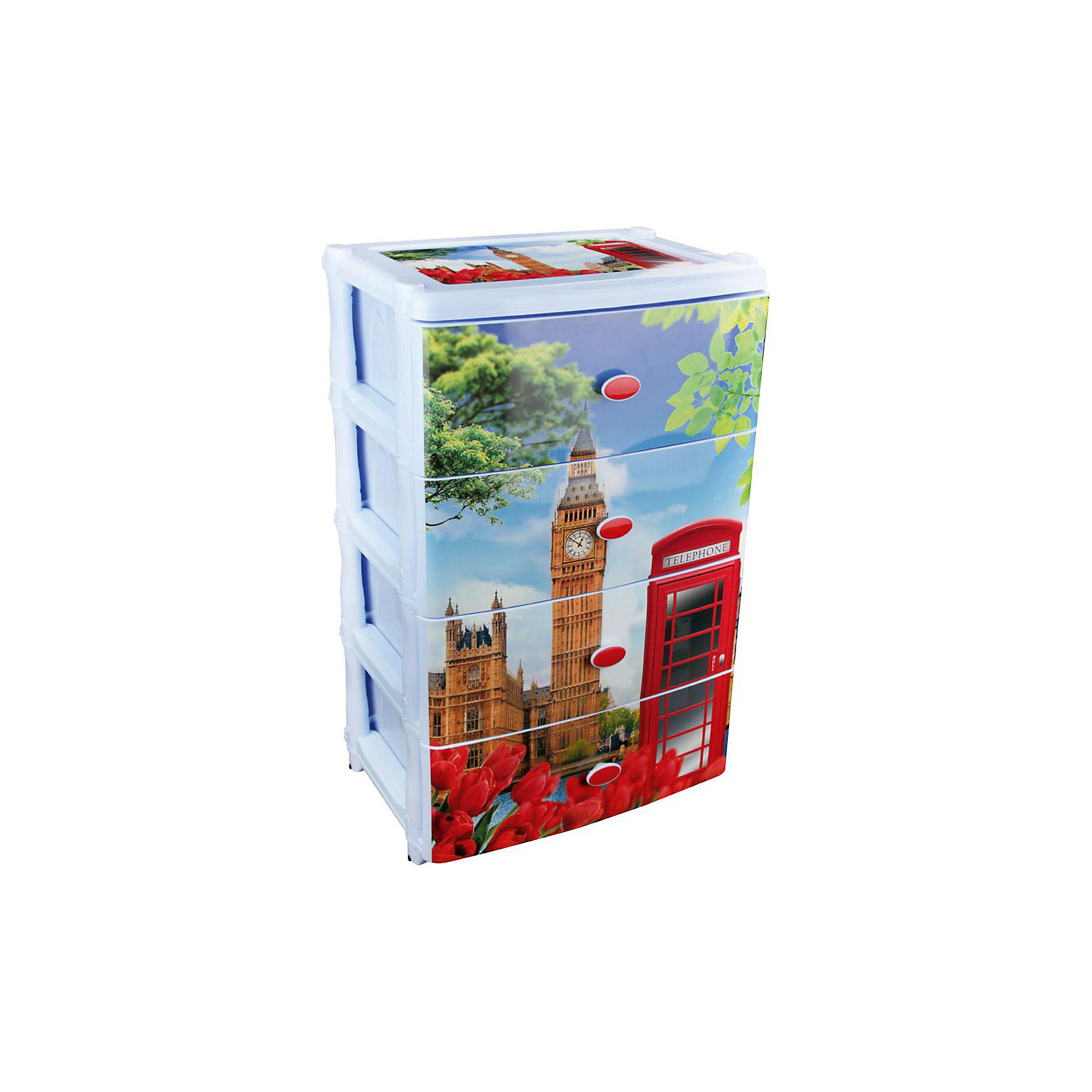 Комод широкий Лондон 4-х секцион. , AlternativaПорядок в детской<br>Характеристики:<br><br>• Предназначение: для кухни, ванной, спальни, прихожей<br>• Пол: универсальный<br>• Материал: пластик<br>• Цвет: голубой, красный, коричневый, зеленый<br>• Размер (Д*Ш*В):  42,5*56*90,5 см<br>• Вес: 6 кг 200 г<br>• Количество секций: 4 шт.<br>• Тип ящиков: выдвижные, с ручками<br>• В комплекте имеется инструкция по сборке<br>• Форма: прямоугольный<br>• Особенности ухода: разрешается мыть теплой водой<br><br>Комод широкий Лондон 4-х секционный, Alternativa изготовлен отечественным производителем ООО ЗПИ Альтернатива, который специализируется на выпуске широкого спектра изделий и предметов мебели из пластика. Комод выполнен из экологически безопасного материала, устойчивого к механическим повреждениям. Имеет компактный размер и повышенную вместимость за счет глубоких ящиков. Каркас комода устойчивый, имеются низкие ножки.  На ящики нанесен устойчивый рисунок с голографией. Комод широкий Лондон 4-х секционный, Alternativa станет не только полезным для хранения различных принадлежностей, но и ярким предметом интерьера. <br><br>Комод широкий Лондон 4-х секционный, Alternativa можно купить в нашем интернет-магазине.<br><br>Ширина мм: 425<br>Глубина мм: 560<br>Высота мм: 905<br>Вес г: 6199<br>Возраст от месяцев: 6<br>Возраст до месяцев: 84<br>Пол: Женский<br>Возраст: Детский<br>SKU: 5096551