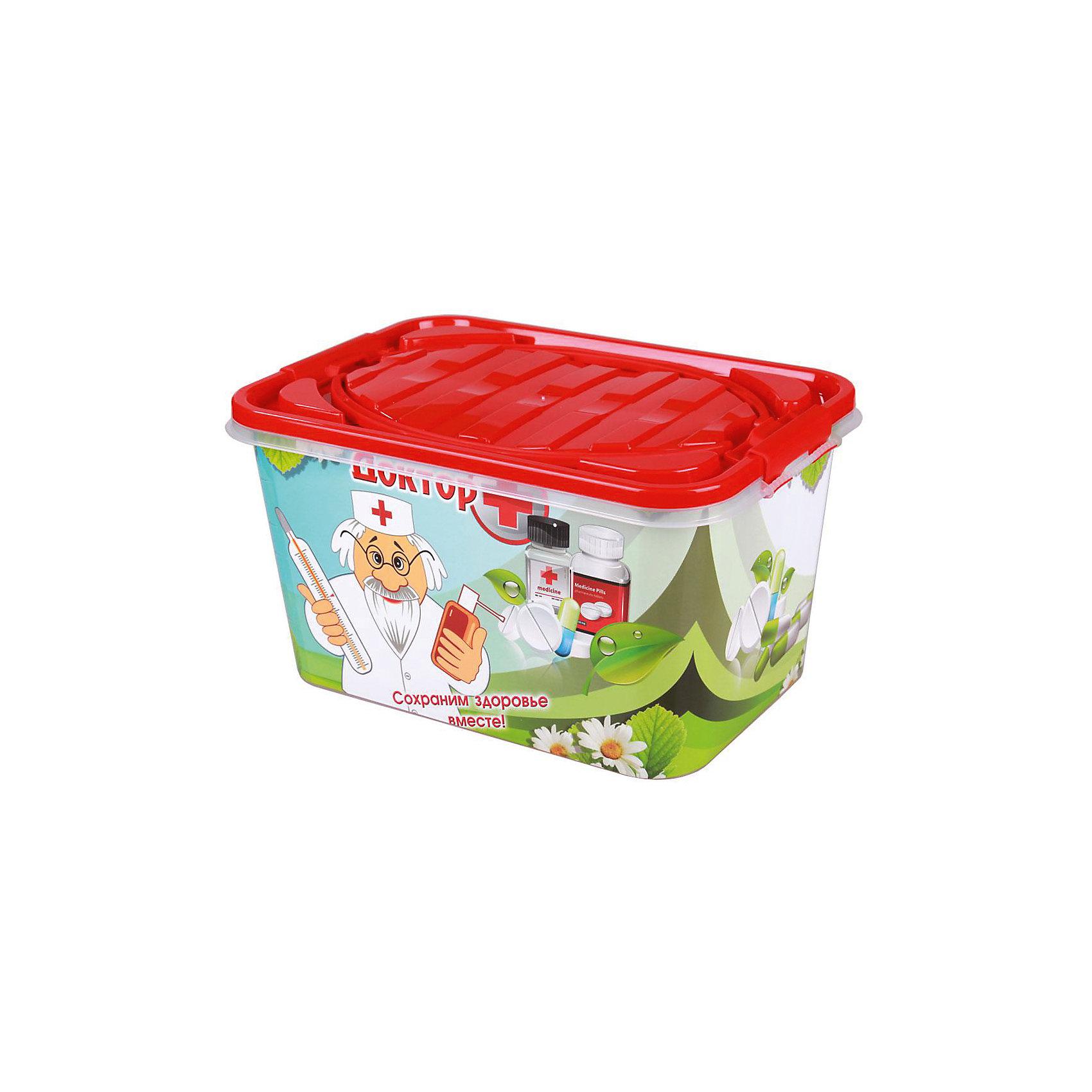 Контейнер Доктор + 15л прямоугольный, AlternativaЯщики для игрушек<br>Характеристики:<br><br>• Предназначение: для хранения игрушек, для хозяйственных нужд<br>• Цвет: зима<br>• Пол: универсальный<br>• Материал: пластик<br>• Цвет: красный, зеленый, белый<br>• Размер (Д*Ш*В): 38,5*26,5*21 см<br>• Вместимость (объем): 15 л<br>• Вес: 750 г<br>• Форма: прямоугольный<br>• Наличие крышки с ручками<br>• Особенности ухода: разрешается мыть теплой водой<br><br>Контейнер Доктор + 15 л прямоугольный, Alternativa изготовлен отечественным производителем ООО ЗПИ Альтернатива, который специализируется на выпуске широкого спектра изделий из пластика. <br>Контейнер выполнен из экологически безопасного прозрачного пластика, устойчивого к механическим повреждениям, корпус оформлен яркими устойчивыми картинками, в комплекте имеется крышка с удобными для переноса ручками. Изделие можно использовать как для хранения игрушек, так и для разных хозяйственных нужд. Контейнер Доктор + 15 л прямоугольный, Alternativa вместительный, но при этом обладает легким весом.<br><br>Контейнер Доктор + 15 л прямоугольный, Alternativa можно купить в нашем интернет-магазине.<br><br>Ширина мм: 390<br>Глубина мм: 265<br>Высота мм: 210<br>Вес г: 720<br>Возраст от месяцев: 6<br>Возраст до месяцев: 84<br>Пол: Унисекс<br>Возраст: Детский<br>SKU: 5096559