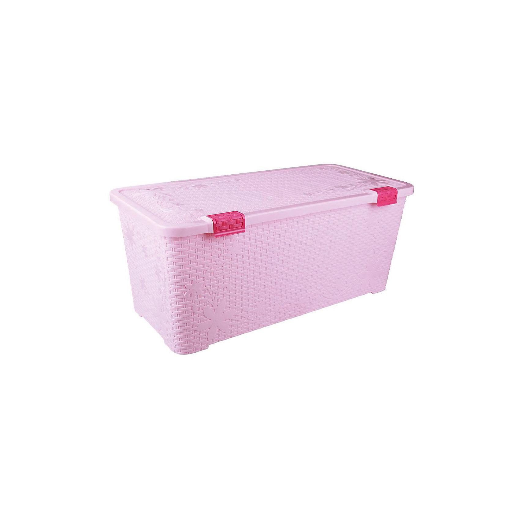 Alternativa Контейнер Плетёнка 100л. с крышкой, Alternativa, розовый alternativa горка для купания alternativa розовый