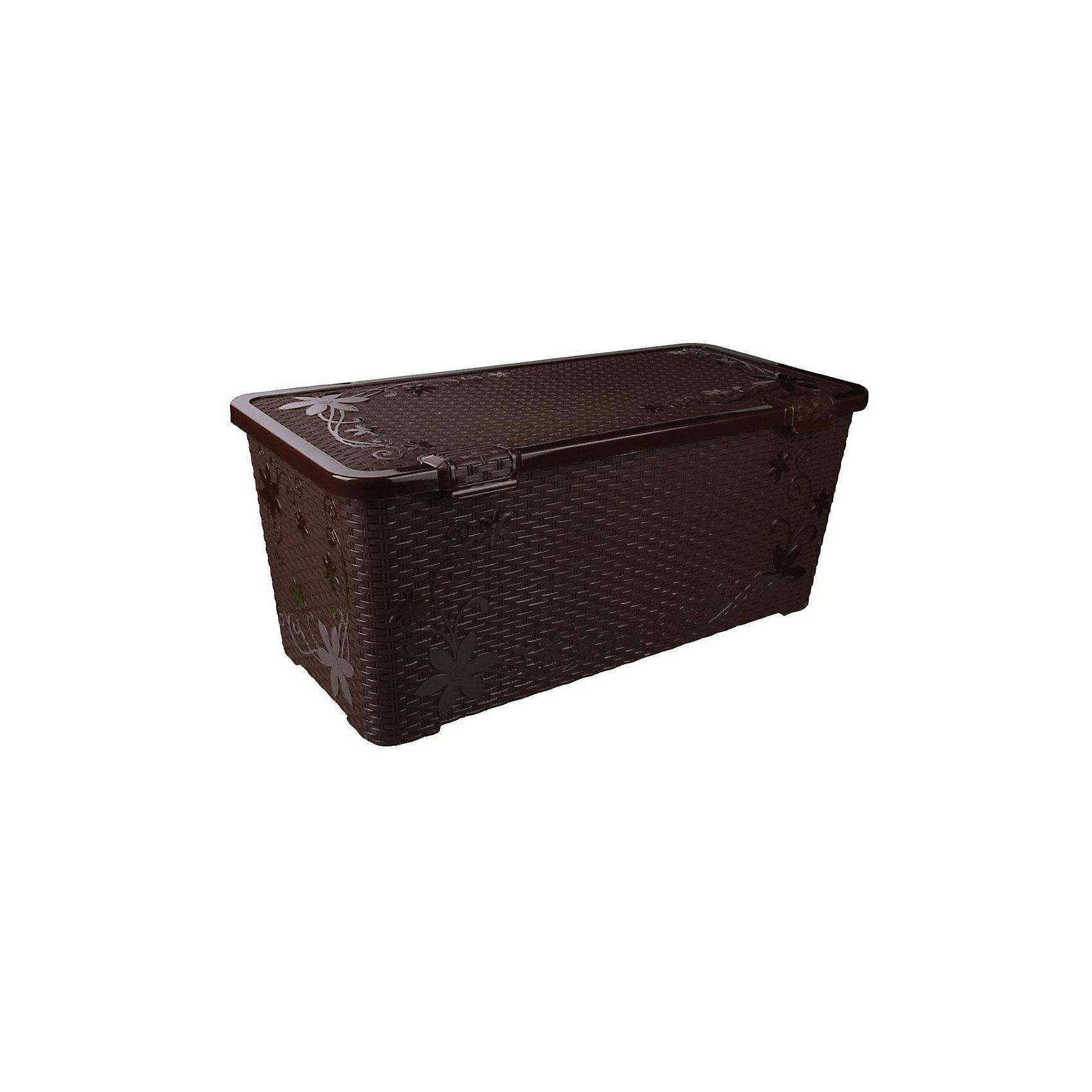 Контейнер Плетёнка 100 л. с крышкой, Alternativa, тёмно-коричневыйХарактеристики:<br><br>• Предназначение: для хранения игрушек, для хозяйственных нужд<br>• Цвет: зима<br>• Материал: пластик<br>• Цвет: тёмно-коричневый<br>• Размер (Д*Ш*В): 86*41,5*37 см<br>• Вместимость (объем): 100 л<br>• Форма: прямоугольный<br>• Наличие крышки <br>• Особенности ухода: разрешается мыть теплой водой<br><br>Контейнер Плетёнка 100 л. с крышкой, Alternativa, тёмно-коричневый изготовлен отечественным производителем ООО ЗПИ Альтернатива, который специализируется на выпуске широкого спектра изделий из пластика. Контейнер выполнен из экологически безопасного пластика, устойчивого к механическим повреждениям, корпус оформлен имитацией плетенки, в комплекте имеется крышка. Изделие можно использовать как для хранения игрушек, так и для разных хозяйственных нужд. Контейнер Плетёнка 100 л. с крышкой, Alternativa, тёмно-коричневый вместительный, но при этом обладает легким весом.<br><br>Контейнер Плетёнка 100 л. с крышкой, Alternativa, тёмно-коричневый можно купить в нашем интернет-магазине.<br><br>Ширина мм: 862<br>Глубина мм: 415<br>Высота мм: 370<br>Вес г: 3035<br>Возраст от месяцев: 6<br>Возраст до месяцев: 84<br>Пол: Унисекс<br>Возраст: Детский<br>SKU: 5096564
