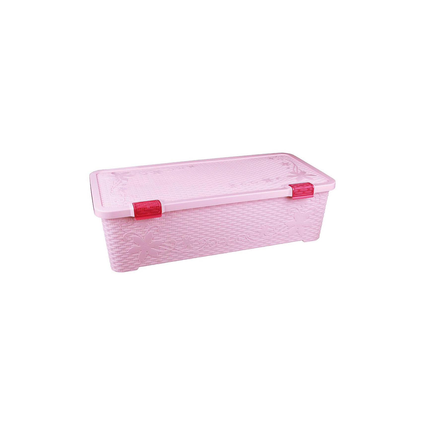 Контейнер Плетёнка 70 л. с крышкой, Alternativa, розовыйХарактеристики:<br><br>• Предназначение: для хранения игрушек, для хозяйственных нужд<br>• Цвет: зима<br>• Материал: пластик<br>• Цвет: розовый<br>• Размер (Д*Ш*В): 86*41,5*20 см<br>• Вместимость (объем): 70 л<br>• Форма: прямоугольный<br>• Наличие крышки <br>• Особенности ухода: разрешается мыть теплой водой<br><br>Контейнер Плетёнка 70 л с крышкой, Alternativa, розовый изготовлен отечественным производителем ООО ЗПИ Альтернатива, который специализируется на выпуске широкого спектра изделий из пластика. <br>Контейнер выполнен из экологически безопасного пластика, устойчивого к механическим повреждениям, корпус оформлен имитацией плетенки, в комплекте имеется крышка. Изделие можно использовать как для хранения игрушек, так и для разных хозяйственных нужд. Контейнер Плетёнка 70 л с крышкой, Alternativa, розовый вместительный, но при этом обладает легким весом.<br><br>Контейнер Плетёнка 70 л с крышкой, Alternativa, розовый можно купить в нашем интернет-магазине.<br><br>Ширина мм: 860<br>Глубина мм: 425<br>Высота мм: 250<br>Вес г: 2460<br>Возраст от месяцев: -2147483648<br>Возраст до месяцев: 2147483647<br>Пол: Женский<br>Возраст: Детский<br>SKU: 5096565