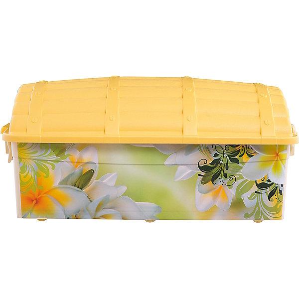 Контейнер Сундук (романтика) 30 л., AlternativaЯщики для игрушек<br>Характеристики:<br><br>• Предназначение: для хранения игрушек<br>• Материал: пластик<br>• Цвет: розовый, желтый, зеленый, оранжевый<br>• Размер (Д*Ш*В): 62*40,5*27 см<br>• Вместимость (объем): 30 л<br>• Форма: прямоугольный<br>• Наличие крышки с замками-клипсами<br>• Особенности ухода: разрешается мыть теплой водой<br><br>Контейнер Сундук (романтика) 30 л. , Alternativa изготовлен отечественным производителем ООО ЗПИ Альтернатива, который специализируется на выпуске широкого спектра изделий из пластика. <br>Контейнер в форме сундука выполнен из экологически безопасного пластика, устойчивого к механическим повреждениям, корпус оформлен цветочным рисунком, в комплекте имеется крышка яркого желтого цвета. Изделие обеспечит не только порядок в комнате ребенка, но и станет ярким предметом интерьера. Контейнер Сундук (романтика) 30 л., Alternativa вместительный, но при этом обладает легким весом.<br><br>Контейнер Сундук (романтика) 30 л., Alternativa можно купить в нашем интернет-магазине.<br>Ширина мм: 620; Глубина мм: 405; Высота мм: 270; Вес г: 1600; Возраст от месяцев: 6; Возраст до месяцев: 84; Пол: Женский; Возраст: Детский; SKU: 5096566;