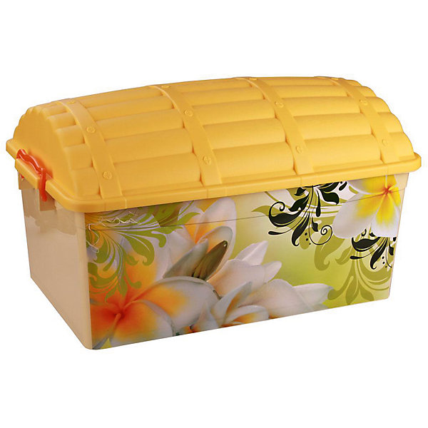 Контейнер Сундук (романтика) 40л., AlternativaЯщики для игрушек<br>Характеристики:<br><br>• Предназначение: для хранения игрушек<br>• Материал: пластик<br>• Цвет: розовый, желтый, зеленый, оранжевый<br>• Размер (Д*Ш*В): 62*40,5*27 см<br>• Вместимость (объем): 40 л<br>• Форма: прямоугольный<br>• Наличие крышки с замками-клипсами<br>• Особенности ухода: разрешается мыть теплой водой<br><br>Контейнер Сундук (романтика) 40 л., Alternativa изготовлен отечественным производителем ООО ЗПИ Альтернатива, который специализируется на выпуске широкого спектра изделий из пластика. <br>Контейнер в форме сундука выполнен из экологически безопасного пластика, устойчивого к механическим повреждениям, корпус оформлен цветочным рисунком, в комплекте имеется крышка яркого желтого цвета. Изделие обеспечит не только порядок в комнате ребенка, но и станет ярким предметом интерьера. Контейнер Сундук (романтика) 40 л., Alternativa вместительный, но при этом обладает легким весом.<br><br>Контейнер Сундук (романтика) 40 л., Alternativa можно купить в нашем интернет-магазине.<br><br>Ширина мм: 620<br>Глубина мм: 405<br>Высота мм: 330<br>Вес г: 1768<br>Возраст от месяцев: 6<br>Возраст до месяцев: 84<br>Пол: Женский<br>Возраст: Детский<br>SKU: 5096567
