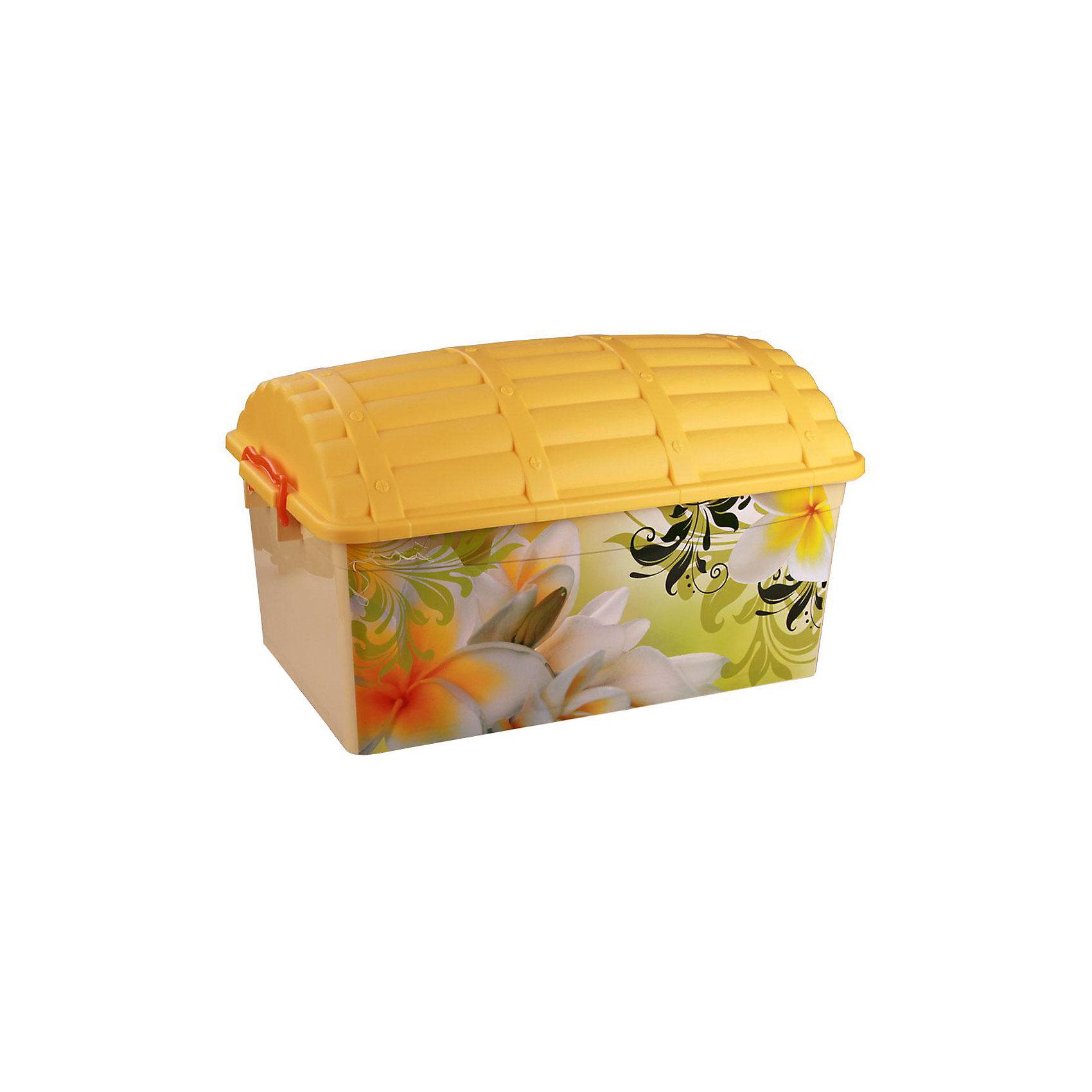 Контейнер Сундук (романтика) 40л., AlternativaПорядок в детской<br>Характеристики:<br><br>• Предназначение: для хранения игрушек<br>• Материал: пластик<br>• Цвет: розовый, желтый, зеленый, оранжевый<br>• Размер (Д*Ш*В): 62*40,5*27 см<br>• Вместимость (объем): 40 л<br>• Форма: прямоугольный<br>• Наличие крышки с замками-клипсами<br>• Особенности ухода: разрешается мыть теплой водой<br><br>Контейнер Сундук (романтика) 40 л., Alternativa изготовлен отечественным производителем ООО ЗПИ Альтернатива, который специализируется на выпуске широкого спектра изделий из пластика. <br>Контейнер в форме сундука выполнен из экологически безопасного пластика, устойчивого к механическим повреждениям, корпус оформлен цветочным рисунком, в комплекте имеется крышка яркого желтого цвета. Изделие обеспечит не только порядок в комнате ребенка, но и станет ярким предметом интерьера. Контейнер Сундук (романтика) 40 л., Alternativa вместительный, но при этом обладает легким весом.<br><br>Контейнер Сундук (романтика) 40 л., Alternativa можно купить в нашем интернет-магазине.<br><br>Ширина мм: 620<br>Глубина мм: 405<br>Высота мм: 330<br>Вес г: 1768<br>Возраст от месяцев: 6<br>Возраст до месяцев: 84<br>Пол: Женский<br>Возраст: Детский<br>SKU: 5096567
