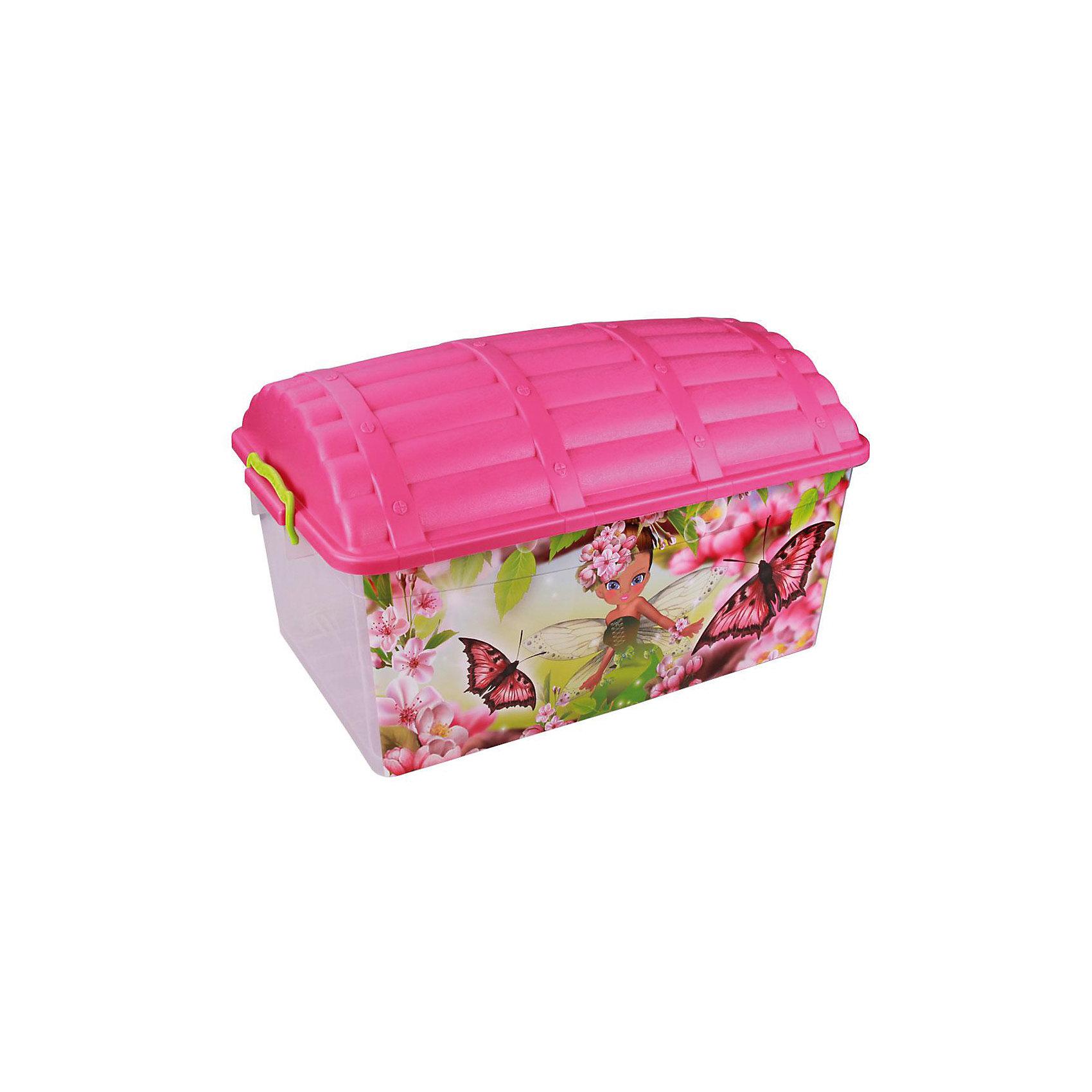 Контейнер Сундук (фея) 40л., AlternativaПорядок в детской<br>Характеристики:<br><br>• Предназначение: для хранения игрушек<br>• Материал: пластик<br>• Цвет: розовый, желтый, зеленый<br>• Размер (Д*Ш*В): 62*40,5*27 см<br>• Вместимость (объем): 40 л<br>• Форма: прямоугольный<br>• Наличие крышки с замками-клипсами<br>• Особенности ухода: разрешается мыть теплой водой<br><br>Контейнер Сундук (фея) 40 л., Alternativa изготовлен отечественным производителем ООО ЗПИ Альтернатива, который специализируется на выпуске широкого спектра изделий из пластика. <br>Контейнер в форме сундука выполнен из экологически безопасного пластика, устойчивого к механическим повреждениям, корпус оформлен ярким рисунком, в комплекте имеется крышка яркого розового цвета. Изделие позволит обеспечить не только порядок в комнате ребенка, но и станет ярким предметом интерьера. Контейнер Сундук (фея) 40 л., Alternativa вместительный, но при этом обладает легким весом.<br><br>Контейнер Сундук (фея) 40 л., Alternativa можно купить в нашем интернет-магазине.<br><br>Ширина мм: 620<br>Глубина мм: 405<br>Высота мм: 330<br>Вес г: 1768<br>Возраст от месяцев: 6<br>Возраст до месяцев: 84<br>Пол: Женский<br>Возраст: Детский<br>SKU: 5096570