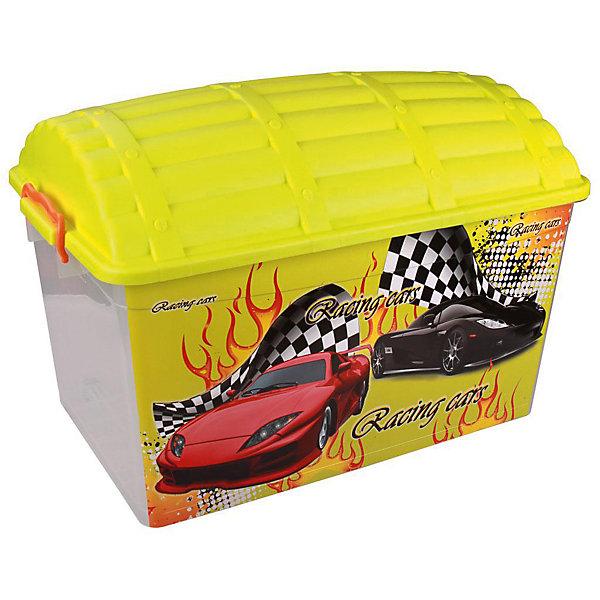 Контейнер Сундук (формула-2) 50л., AlternativaЯщики для игрушек<br>Характеристики:<br><br>• Предназначение: для хранения игрушек<br>• Материал: пластик<br>• Цвет: желтый, красный, черный, серый<br>• Размер (Д*Ш*В): 62*40,5*44 см<br>• Вместимость (объем): 50 л<br>• Форма: прямоугольный<br>• Наличие крышки с замками-клипсами<br>• Особенности ухода: разрешается мыть теплой водой<br><br>Контейнер Сундук (формула-2) 50 л., Alternativa изготовлен отечественным производителем ООО ЗПИ Альтернатива, который специализируется на выпуске широкого спектра изделий из пластика. <br>Контейнер в форме сундука выполнен из экологически безопасного пластика, устойчивого к механическим повреждениям, корпус оформлен ярким рисунком, в комплекте имеется крышка яркого желтого цвета. Изделие позволит обеспечить не только порядок в комнате ребенка, но и станет ярким предметом интерьера. Контейнер Сундук (формула-2) 50 л., Alternativa вместительный, но при этом обладает легким весом.<br><br>Контейнер Сундук (формула-2) 50 л., Alternativa можно купить в нашем интернет-магазине.<br><br>Ширина мм: 620<br>Глубина мм: 405<br>Высота мм: 440<br>Вес г: 1928<br>Возраст от месяцев: 6<br>Возраст до месяцев: 84<br>Пол: Мужской<br>Возраст: Детский<br>SKU: 5096573