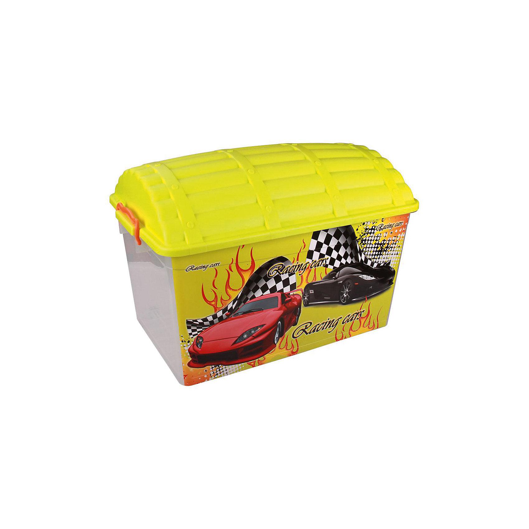 Контейнер Сундук (формула-2) 50л., AlternativaХарактеристики:<br><br>• Предназначение: для хранения игрушек<br>• Материал: пластик<br>• Цвет: желтый, красный, черный, серый<br>• Размер (Д*Ш*В): 62*40,5*44 см<br>• Вместимость (объем): 50 л<br>• Форма: прямоугольный<br>• Наличие крышки с замками-клипсами<br>• Особенности ухода: разрешается мыть теплой водой<br><br>Контейнер Сундук (формула-2) 50 л., Alternativa изготовлен отечественным производителем ООО ЗПИ Альтернатива, который специализируется на выпуске широкого спектра изделий из пластика. <br>Контейнер в форме сундука выполнен из экологически безопасного пластика, устойчивого к механическим повреждениям, корпус оформлен ярким рисунком, в комплекте имеется крышка яркого желтого цвета. Изделие позволит обеспечить не только порядок в комнате ребенка, но и станет ярким предметом интерьера. Контейнер Сундук (формула-2) 50 л., Alternativa вместительный, но при этом обладает легким весом.<br><br>Контейнер Сундук (формула-2) 50 л., Alternativa можно купить в нашем интернет-магазине.<br><br>Ширина мм: 620<br>Глубина мм: 405<br>Высота мм: 440<br>Вес г: 1928<br>Возраст от месяцев: 6<br>Возраст до месяцев: 84<br>Пол: Мужской<br>Возраст: Детский<br>SKU: 5096573