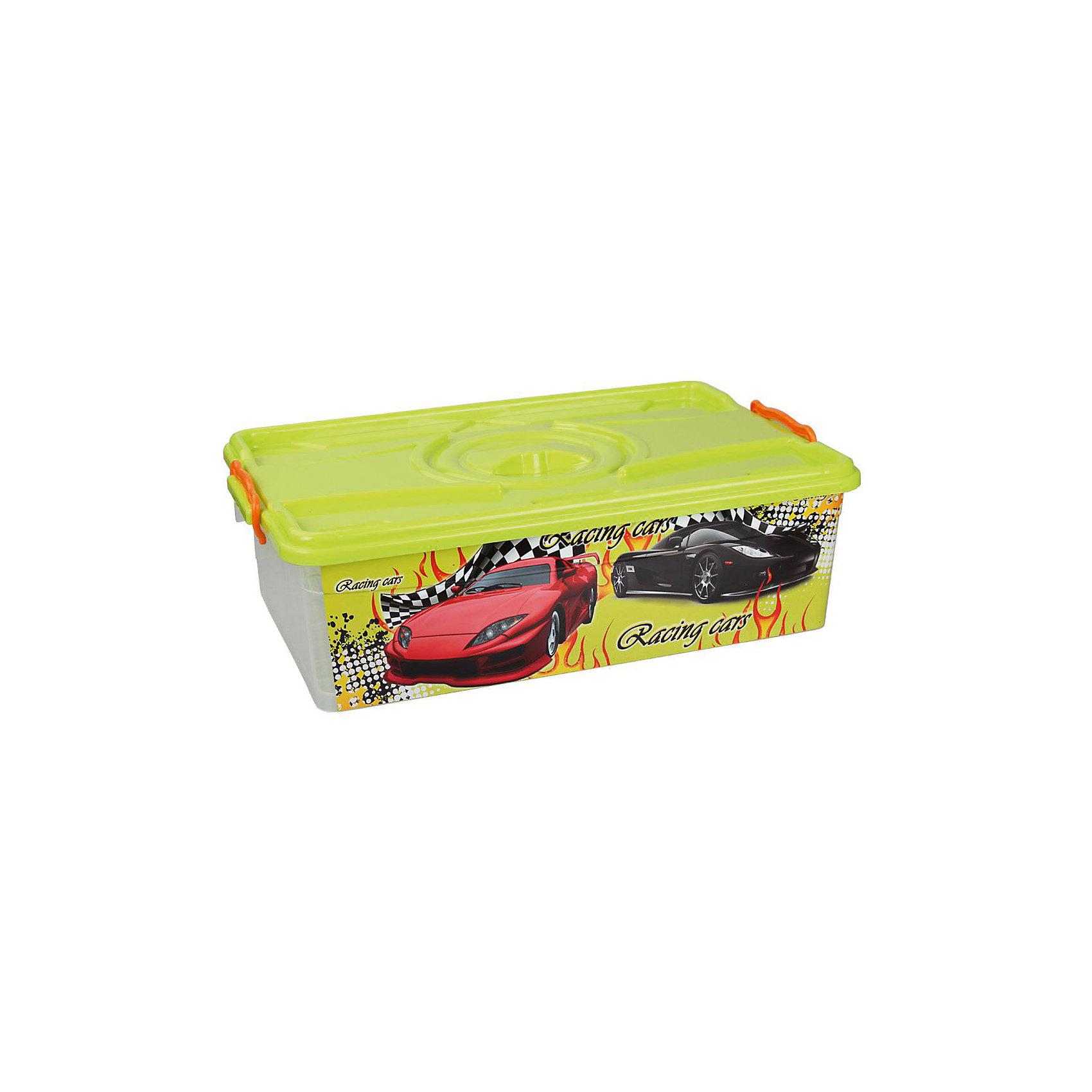 Контейнер Формула-2 30л с крышкой, AlternativaХарактеристики:<br><br>• Предназначение: для хранения игрушек<br>• Материал: пластик<br>• Цвет: желтый, красный, черный, серый<br>• Размер (Д*Ш*В): 61*38,5*18 см<br>• Вместимость (объем): 30 л<br>• Форма: прямоугольный<br>• Наличие крышки <br>• Особенности ухода: разрешается мыть теплой водой<br><br>Контейнер Формула-2 30 л с крышкой, Alternativa изготовлен отечественным производителем ООО ЗПИ Альтернатива, который специализируется на выпуске широкого спектра изделий из пластика. <br>Контейнер выполнен из экологически безопасного пластика, устойчивого к механическим повреждениям, корпус оформлен ярким рисунком, в комплекте имеется крышка салатового цвета. Изделие позволит обеспечить не только порядок в комнате ребенка, но и станет ярким предметом интерьера. Контейнер Формула-2 30 л с крышкой, Alternativa вместительный, но при этом обладает легким весом.<br><br>Контейнер Формула-2 30 л с крышкой, Alternativa можно купить в нашем интернет-магазине.<br><br>Ширина мм: 600<br>Глубина мм: 385<br>Высота мм: 180<br>Вес г: 1458<br>Возраст от месяцев: 6<br>Возраст до месяцев: 84<br>Пол: Мужской<br>Возраст: Детский<br>SKU: 5096577