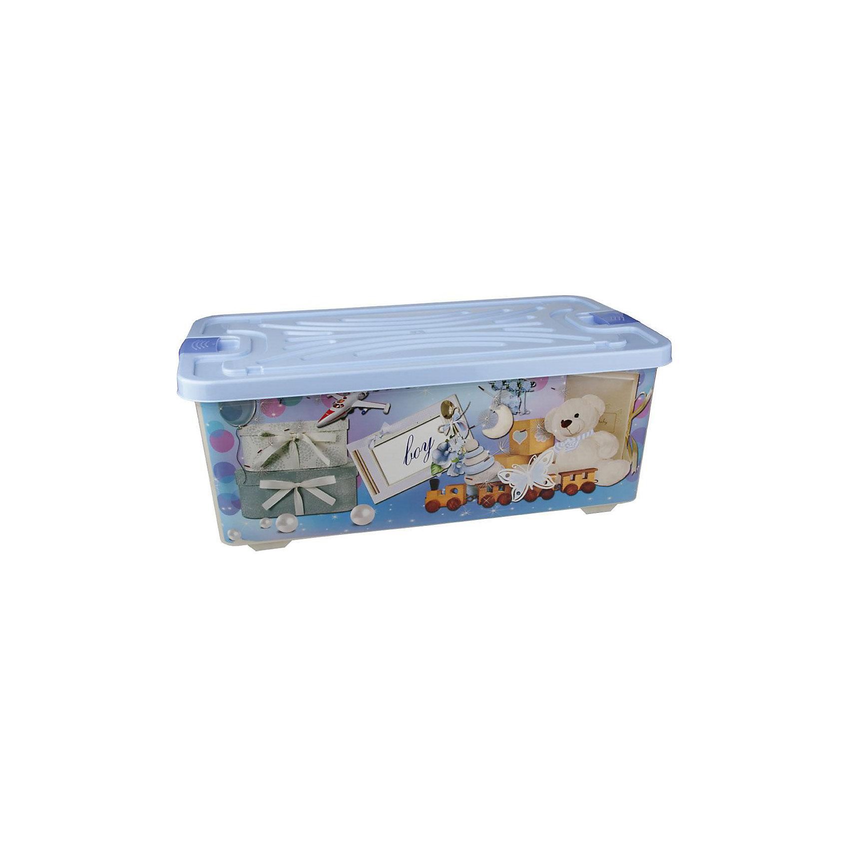 Контейнер для игрушек Boy (прямоугольный) 75л. , AlternativaХарактеристики:<br><br>• Предназначение: для хранения игрушек<br>• Материал: пластик<br>• Цвет: голубой, белый, серый, коричневый<br>• Размер (Д*Ш*В): 78*42,5*30 см<br>• Вместимость (объем): 75 л<br>• Форма: прямоугольныйольный<br>• Наличие крышки с замочком-клипсами<br>• Особенности ухода: разрешается мыть теплой водой<br><br>Контейнер для игрушек Boy (прямоугольный) 75 л., Alternativa изготовлен отечественным производителем ООО ЗПИ Альтернатива, который специализируется на выпуске широкого спектра изделий из пластика. <br>Контейнер выполнен из экологически безопасного пластика, устойчивого к механическим повреждениям, корпус оформлен рисунком детской тематики в голубых тонах, в комплекте имеется крышка голубого цвета. Изделие позволит обеспечить не только порядок в комнате ребенка, но и станет ярким предметом интерьера. Контейнер для игрушек Boy (прямоугольный) 75л., Alternativa вместительный, но при этом обладает легким весом.<br><br>Контейнер для игрушек Boy (прямоугольный) 75л., Alternativa можно купить в нашем интернет-магазине.<br><br>Ширина мм: 770<br>Глубина мм: 415<br>Высота мм: 290<br>Вес г: 2518<br>Возраст от месяцев: 6<br>Возраст до месяцев: 84<br>Пол: Унисекс<br>Возраст: Детский<br>SKU: 5096583