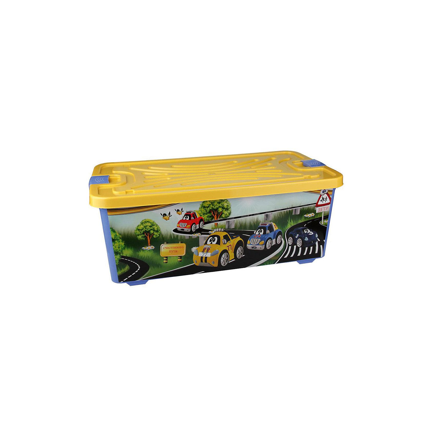 Контейнер для игрушек Форсаж (прямоугольный) 75л., AlternativaПорядок в детской<br>Характеристики:<br><br>• Предназначение: для хранения игрушек<br>• Материал: пластик<br>• Цвет: желтый, голубой, зеленый, серый<br>• Размер (Д*Ш*В): 78*42,5*30 см<br>• Вместимость (объем): 75 л<br>• Форма: прямоугольныйольный<br>• Наличие крышки <br>• Особенности ухода: разрешается мыть теплой водой<br><br>Контейнер для игрушек Форсаж (прямоугольный) 75 л., Alternativa изготовлен отечественным производителем ООО ЗПИ Альтернатива, который специализируется на выпуске широкого спектра изделий из пластика. <br>Контейнер выполнен из экологически безопасного пластика, устойчивого к механическим повреждениям, корпус оформлен ярким рисунком с героями мультсериала Тачки, в комплекте имеется крышка яркого желтого цвета. Изделие позволит обеспечить не только порядок в комнате ребенка, но и станет ярким предметом интерьера. Контейнер для игрушек Форсаж (прямоугольный) 75 л., Alternativa вместительный, но при этом обладает легким весом.<br><br>Контейнер для игрушек Форсаж (прямоугольный) 75 л., Alternativa можно купить в нашем интернет-магазине.<br><br>Ширина мм: 780<br>Глубина мм: 300<br>Высота мм: 300<br>Вес г: 2518<br>Возраст от месяцев: 6<br>Возраст до месяцев: 84<br>Пол: Мужской<br>Возраст: Детский<br>SKU: 5096587