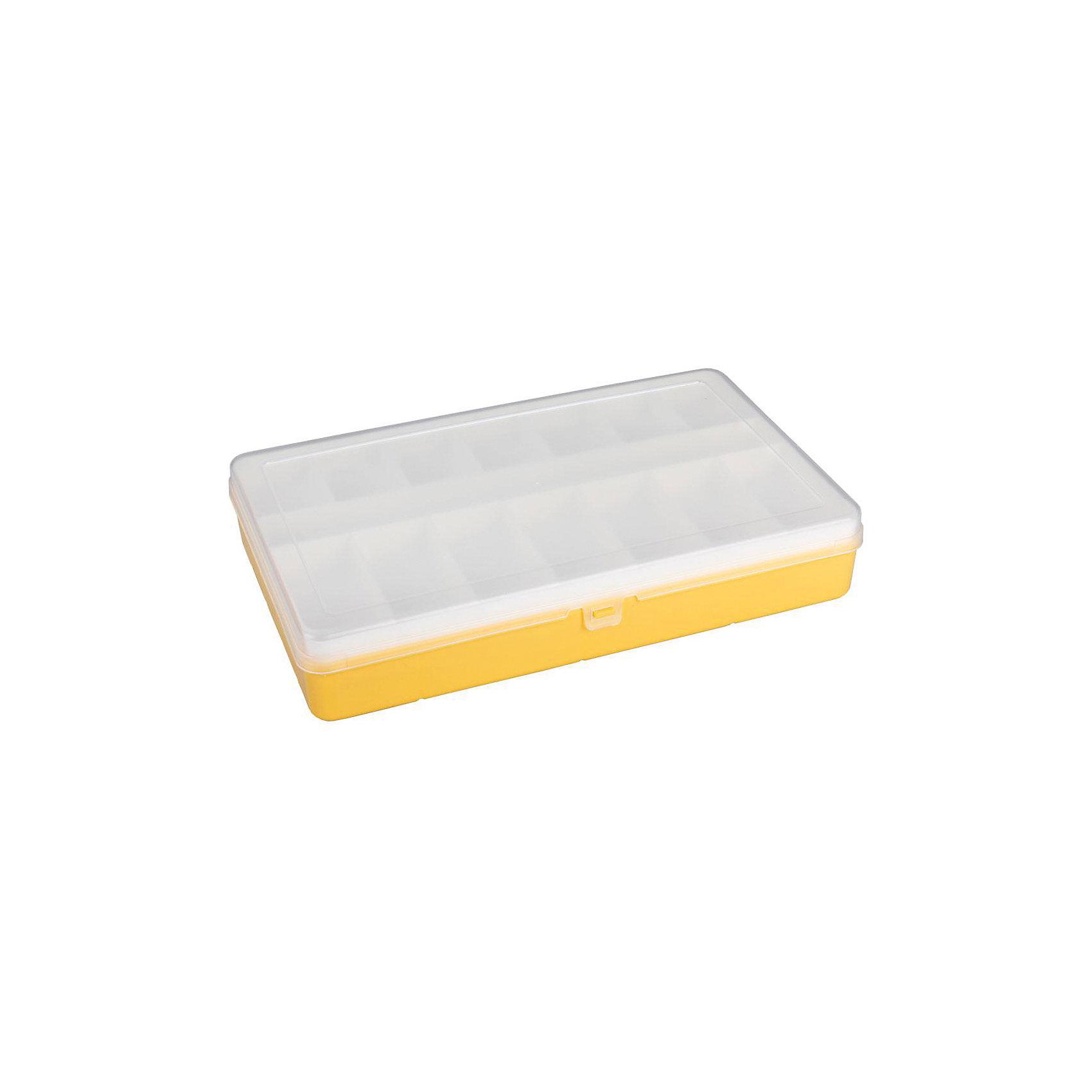 Контейнер для мелочей (290х180), Alternativa, желтыйПорядок в детской<br>Характеристики:<br><br>• Предназначение: для хранения игрушек, для канцелярских принадлежностей или предметов для творчества<br>• Материал: пластик<br>• Цвет: желтый, белый<br>• Размер (Д*Ш*В): 29*18*2,3 см<br>• Форма: прямоугольный<br>• Наличие крышки<br>• Наличие дополнительного вкладыша <br>• Особенности ухода: разрешается мыть теплой водой<br><br>Контейнер для мелочей (290х180), Alternativa, желтый изготовлен отечественным производителем ООО ЗПИ Альтернатива, который специализируется на выпуске широкого спектра изделий из пластика хозяйственного назначения. Контейнер с крышкой выполнен из экологически безопасного пластика, устойчивого к механическим повреждениям, состоит из двух частей, в комплекте имеется дополнительный вкладыш с ячейками разного размера. Контейнер для мелочей (290х180), Alternativa, желтый станет незаменимым помощником в домашнем хозяйстве, в нем удобно хранить предметы для шитья, бисер, бусины, также он подойдет для хранения мелких деталей от детских конструкторов.<br><br>Контейнер для мелочей (290х180), Alternativa, желтый можно купить в нашем интернет-магазине.<br><br>Ширина мм: 291<br>Глубина мм: 182<br>Высота мм: 53<br>Вес г: 390<br>Возраст от месяцев: 6<br>Возраст до месяцев: 84<br>Пол: Унисекс<br>Возраст: Детский<br>SKU: 5096588