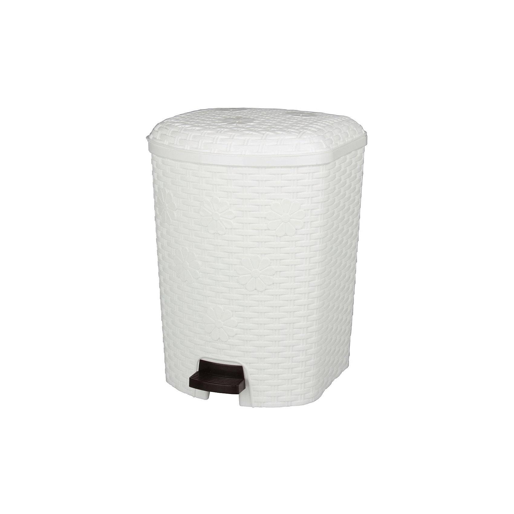 Контейнер для мусора Плетёнка 12л, Alternativa, белыйХарактеристики:<br><br>• Предназначение: для мусора<br>• Материал: пластик<br>• Цвет: белый<br>• Размер (Д*Ш*В): 22,8*22,5*33,6 см<br>• Вместимость (объем): 12 л<br>• Форма: прямоугольный<br>• Наличие крышки <br>• Наличие педали<br>• Наличие внутреннего контейнера-вкладыша с ручкой<br>• Особенности ухода: разрешается мыть теплой водой<br><br>Контейнер для мусора Плетёнка 12 л., Alternativa, белый изготовлен отечественным производителем ООО ЗПИ Альтернатива, который специализируется на выпуске широкого спектра изделий из пластика. Контейнер выполнен из экологически безопасного пластика, устойчивого к механическим повреждениям, корпус оформлен имитацией плетения из лозы, в комплекте внутренний контейнер-вкладыш с ручкой и педаль для подъма крышки. Изделие имеет удобную форму, достаточно легкое в уходе. Контейнер для мусора Плетёнка 12 л., Alternativa, белый позволит поддерживать порядок дома без особого труда.<br><br>Контейнер для мусора Плетёнка 12 л., Alternativa, белый можно купить в нашем интернет-магазине.<br><br>Ширина мм: 228<br>Глубина мм: 225<br>Высота мм: 336<br>Вес г: 1323<br>Возраст от месяцев: 6<br>Возраст до месяцев: 84<br>Пол: Женский<br>Возраст: Детский<br>SKU: 5096592