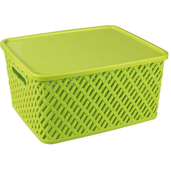 Корзина Плетенка (350х290х175)с крышкой, Alternativa, салатовыйЯщики для игрушек<br>Характеристики:<br><br>• Предназначение: для хозяйственных нужд<br>• Материал: пластик<br>• Цвет: салатовый<br>• Размер (Д*Ш*В): 35*29*17,5 см<br>• Форма: прямоугольныйольная<br>• Наличие крышки<br>• Особенности ухода: разрешается мыть теплой водой<br><br>Корзина Плетенка (350х290х175) с крышкой, Alternativa, салатовый изготовлена отечественным производителем ООО ЗПИ Альтернатива, который специализируется на выпуске широкого спектра изделий из пластика. Контейнер выполнен из экологически безопасного пластика, устойчивого к механическим повреждениям, корпус оформлен имитацией плетения из лозы с крупными отверстиями, по бокам имеются ручки, в комплекте предусмотрена крышка. Изделие имеет удобную форму, достаточно легкое в уходе. Корзину Плетенка (350х290х175) с крышкой, Alternativa, салатовую можно использовать для хранения белья, игрушек, овощей и многих других целей.<br><br>Корзину Плетенка (350х290х175) с крышкой, Alternativa, салатовую можно купить в нашем интернет-магазине.<br><br>Ширина мм: 355<br>Глубина мм: 305<br>Высота мм: 180<br>Вес г: 626<br>Возраст от месяцев: 6<br>Возраст до месяцев: 84<br>Пол: Унисекс<br>Возраст: Детский<br>SKU: 5096600
