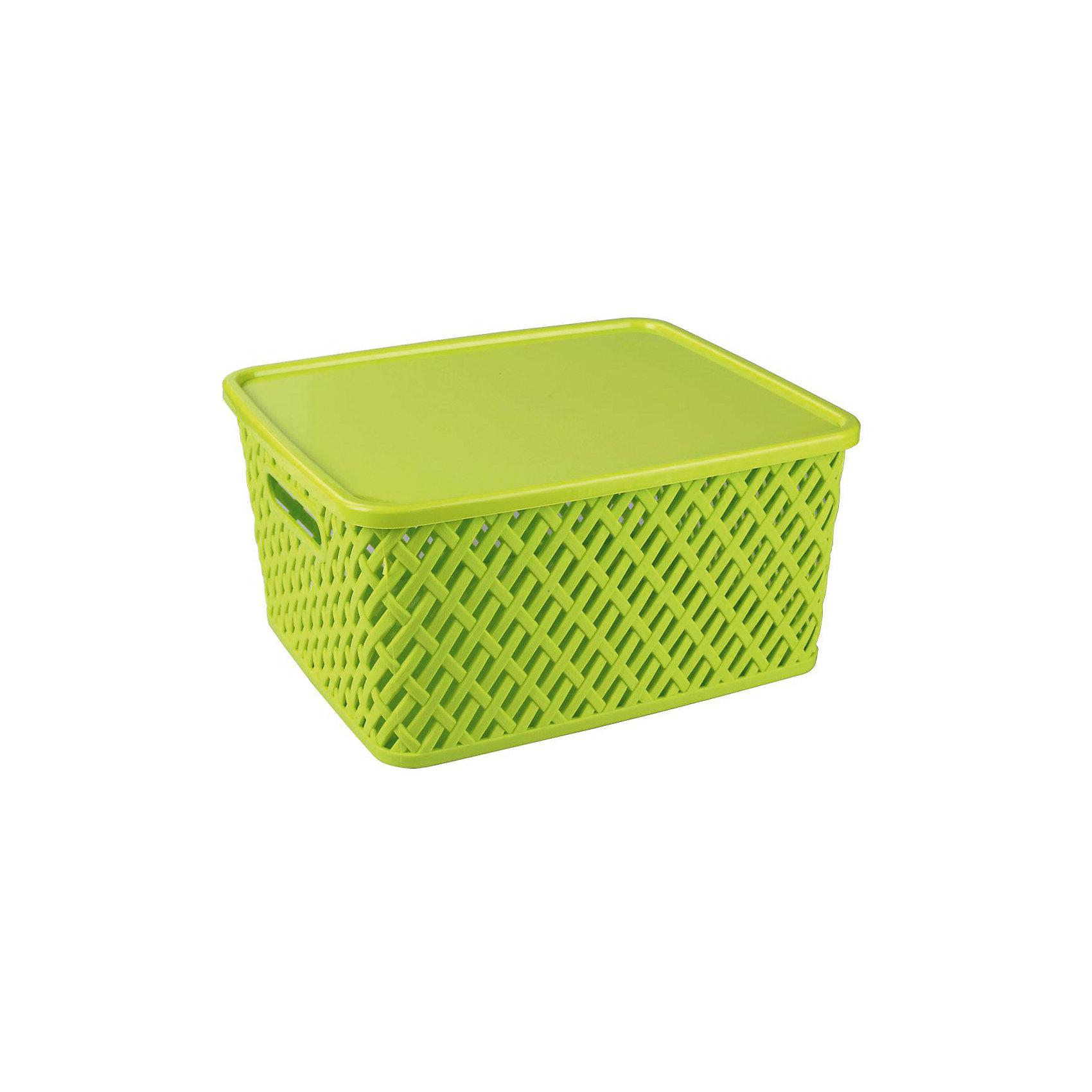 Корзина Плетенка (350х290х175)с крышкой, Alternativa, салатовыйХарактеристики:<br><br>• Предназначение: для хозяйственных нужд<br>• Материал: пластик<br>• Цвет: салатовый<br>• Размер (Д*Ш*В): 35*29*17,5 см<br>• Форма: прямоугольныйольная<br>• Наличие крышки<br>• Особенности ухода: разрешается мыть теплой водой<br><br>Корзина Плетенка (350х290х175) с крышкой, Alternativa, салатовый изготовлена отечественным производителем ООО ЗПИ Альтернатива, который специализируется на выпуске широкого спектра изделий из пластика. Контейнер выполнен из экологически безопасного пластика, устойчивого к механическим повреждениям, корпус оформлен имитацией плетения из лозы с крупными отверстиями, по бокам имеются ручки, в комплекте предусмотрена крышка. Изделие имеет удобную форму, достаточно легкое в уходе. Корзину Плетенка (350х290х175) с крышкой, Alternativa, салатовую можно использовать для хранения белья, игрушек, овощей и многих других целей.<br><br>Корзину Плетенка (350х290х175) с крышкой, Alternativa, салатовую можно купить в нашем интернет-магазине.<br><br>Ширина мм: 355<br>Глубина мм: 305<br>Высота мм: 180<br>Вес г: 626<br>Возраст от месяцев: 6<br>Возраст до месяцев: 84<br>Пол: Унисекс<br>Возраст: Детский<br>SKU: 5096600